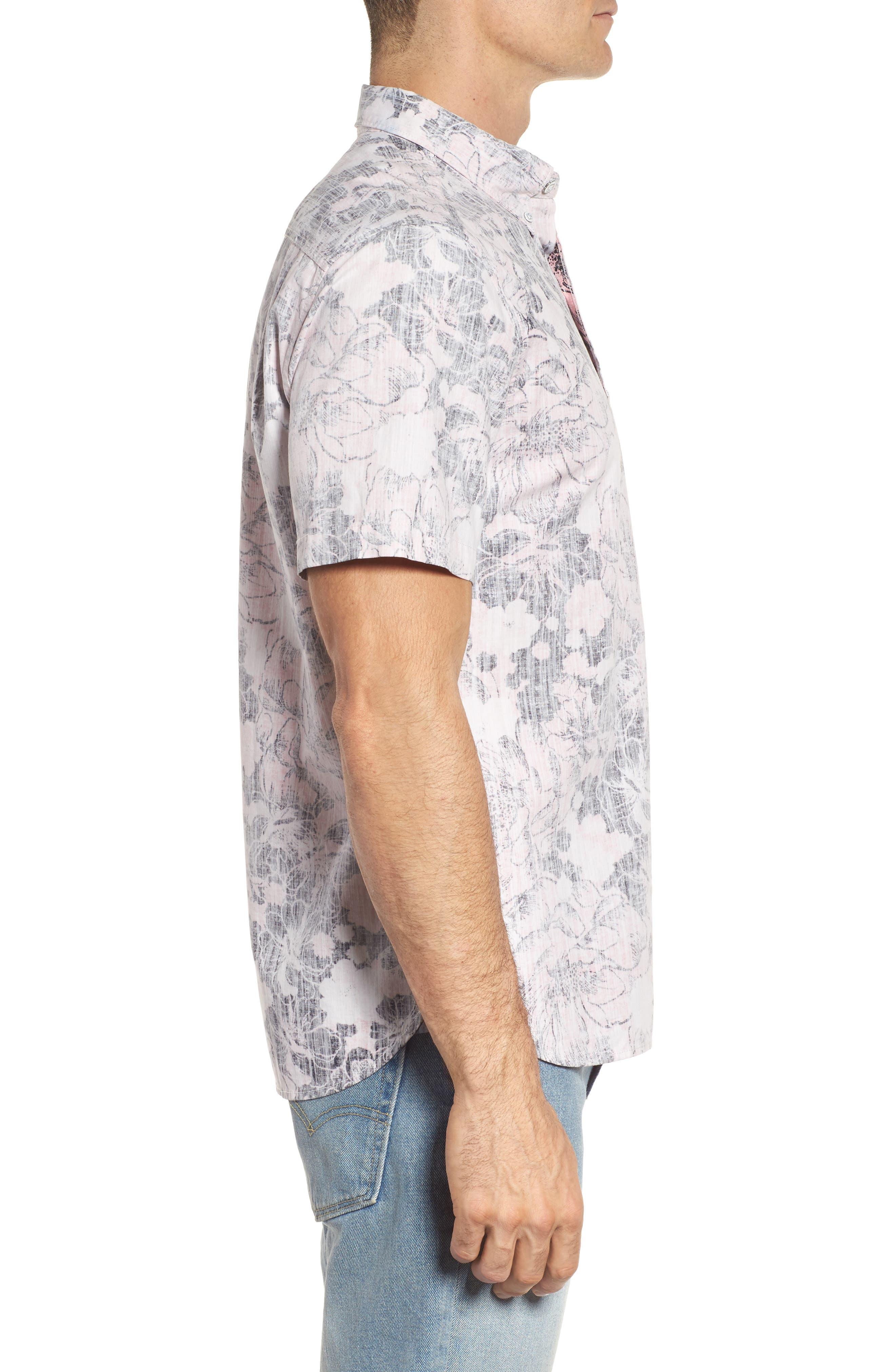 Seaspray Floral Sport Shirt,                             Alternate thumbnail 3, color,                             Soft Flamingo