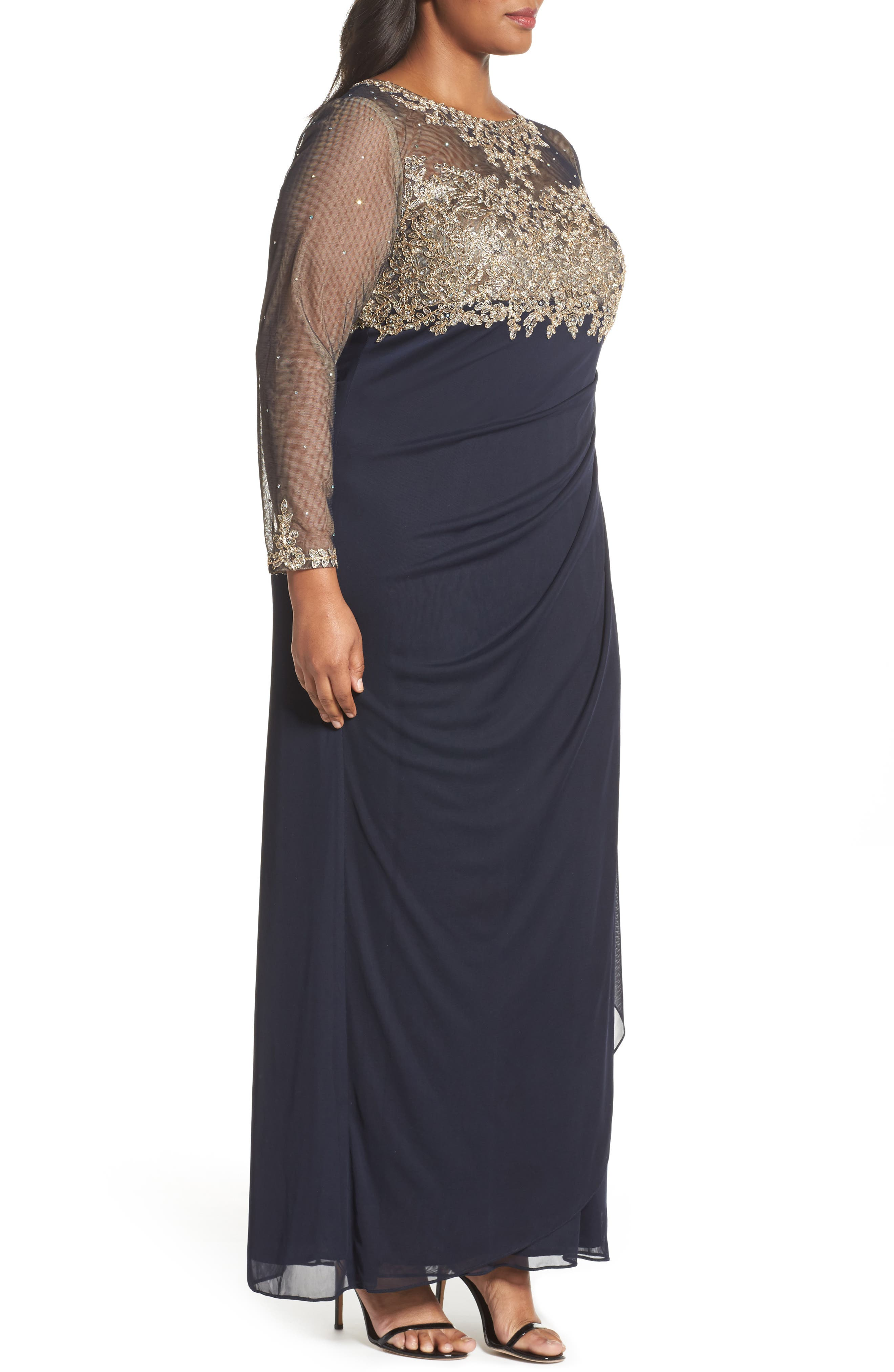 Embellished Mesh & Jersey Gown,                             Alternate thumbnail 3, color,                             Navy/ Gold