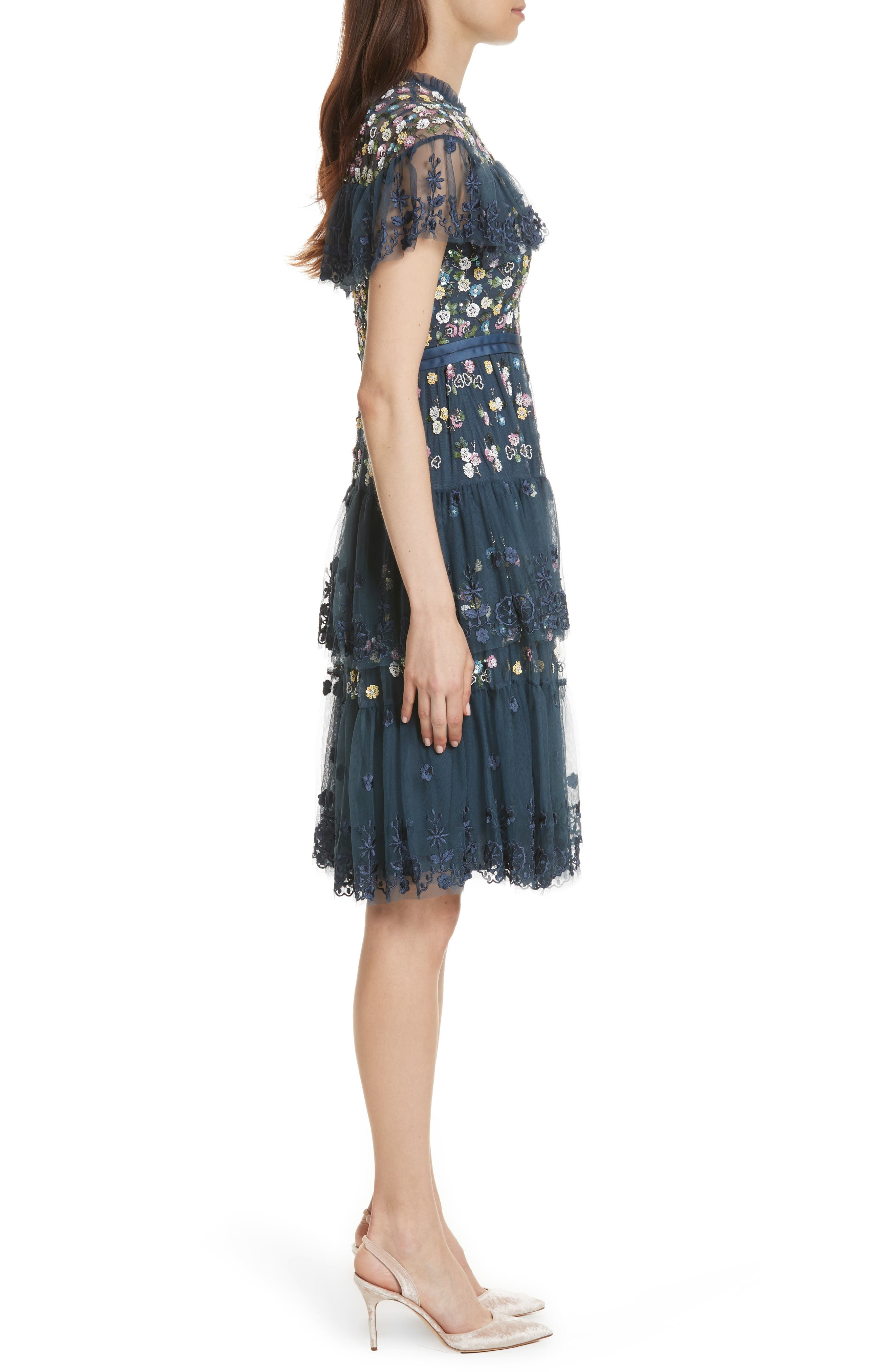 Anglais Tiered Dress,                             Alternate thumbnail 3, color,                             Washed Indigo