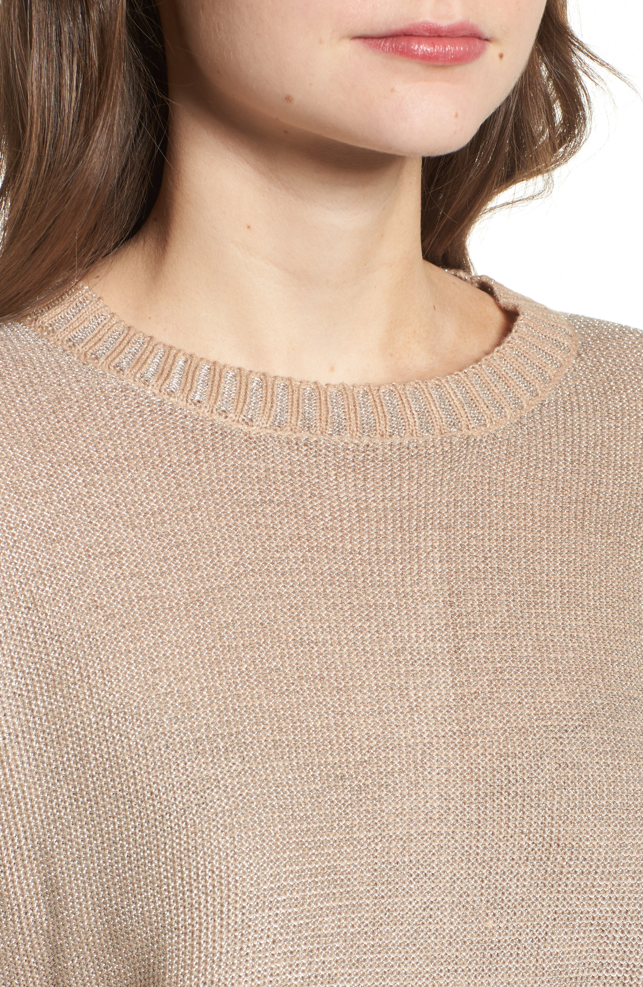 Metallic Flyaway Back Sweater,                             Alternate thumbnail 4, color,                             Taupe/ Silver