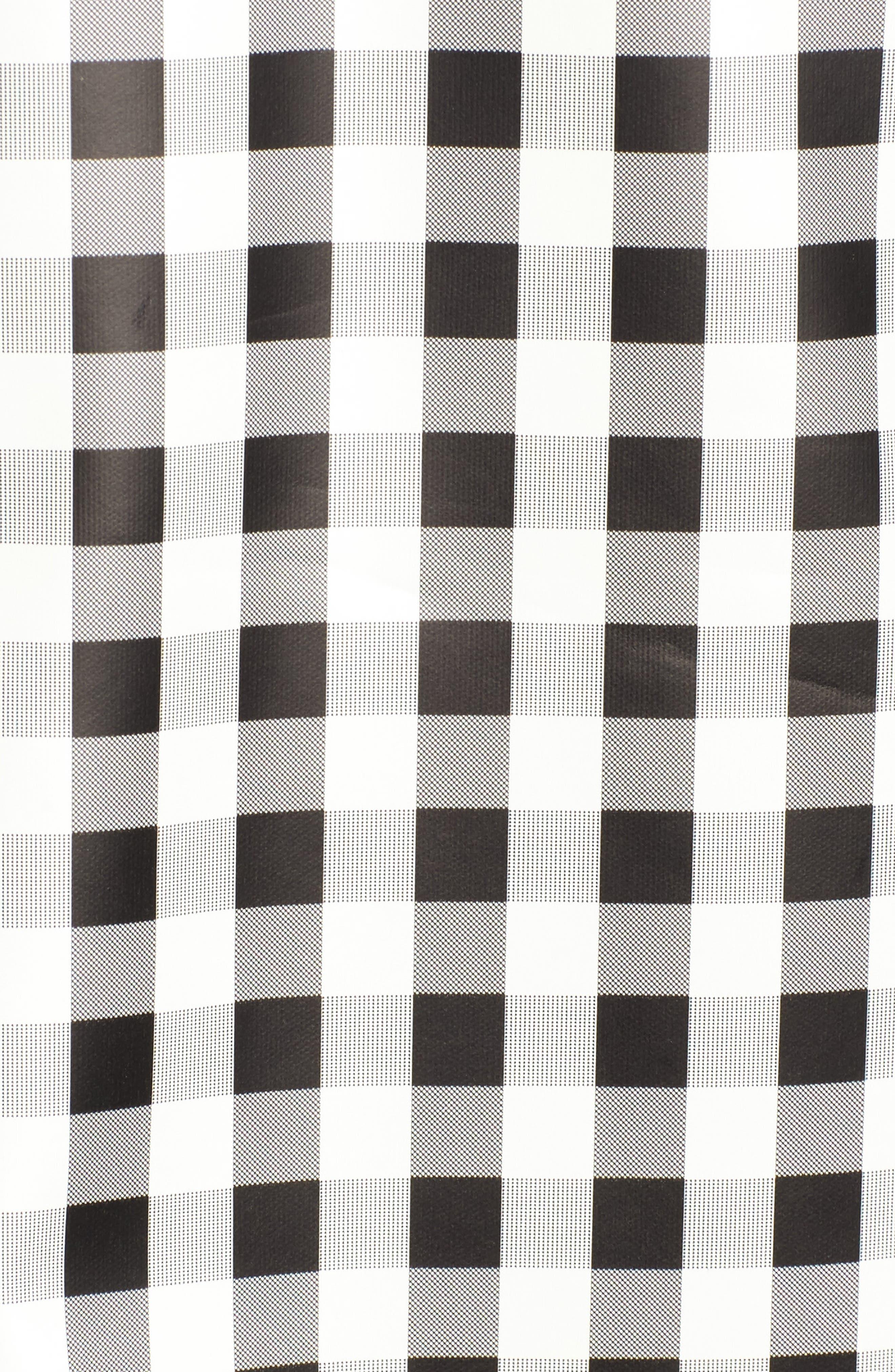 Gingham Hooded Rain Jacket,                             Alternate thumbnail 6, color,                             Black/ White