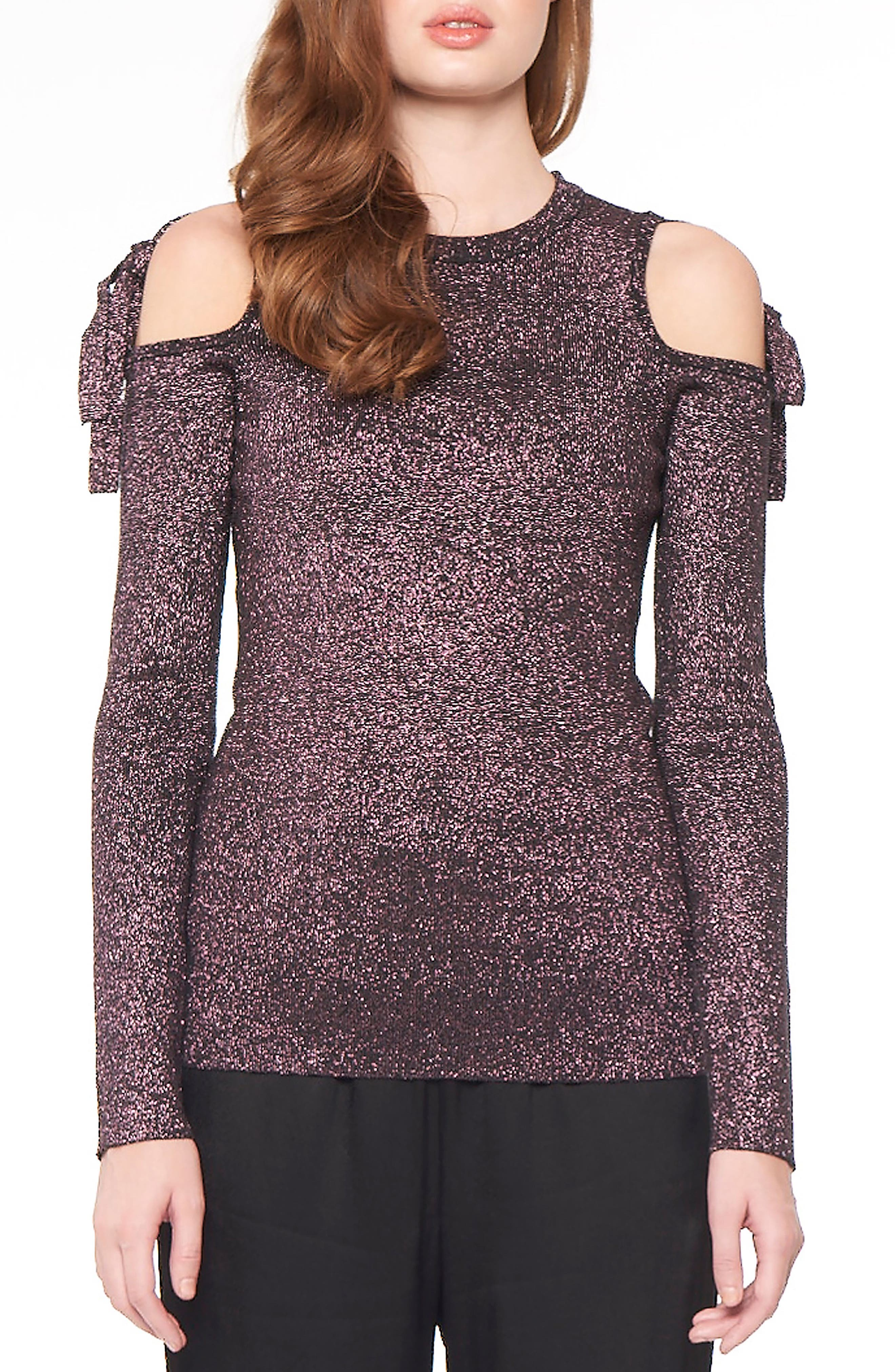 Main Image - Willow & Clay Metallic Cold Shoulder Top
