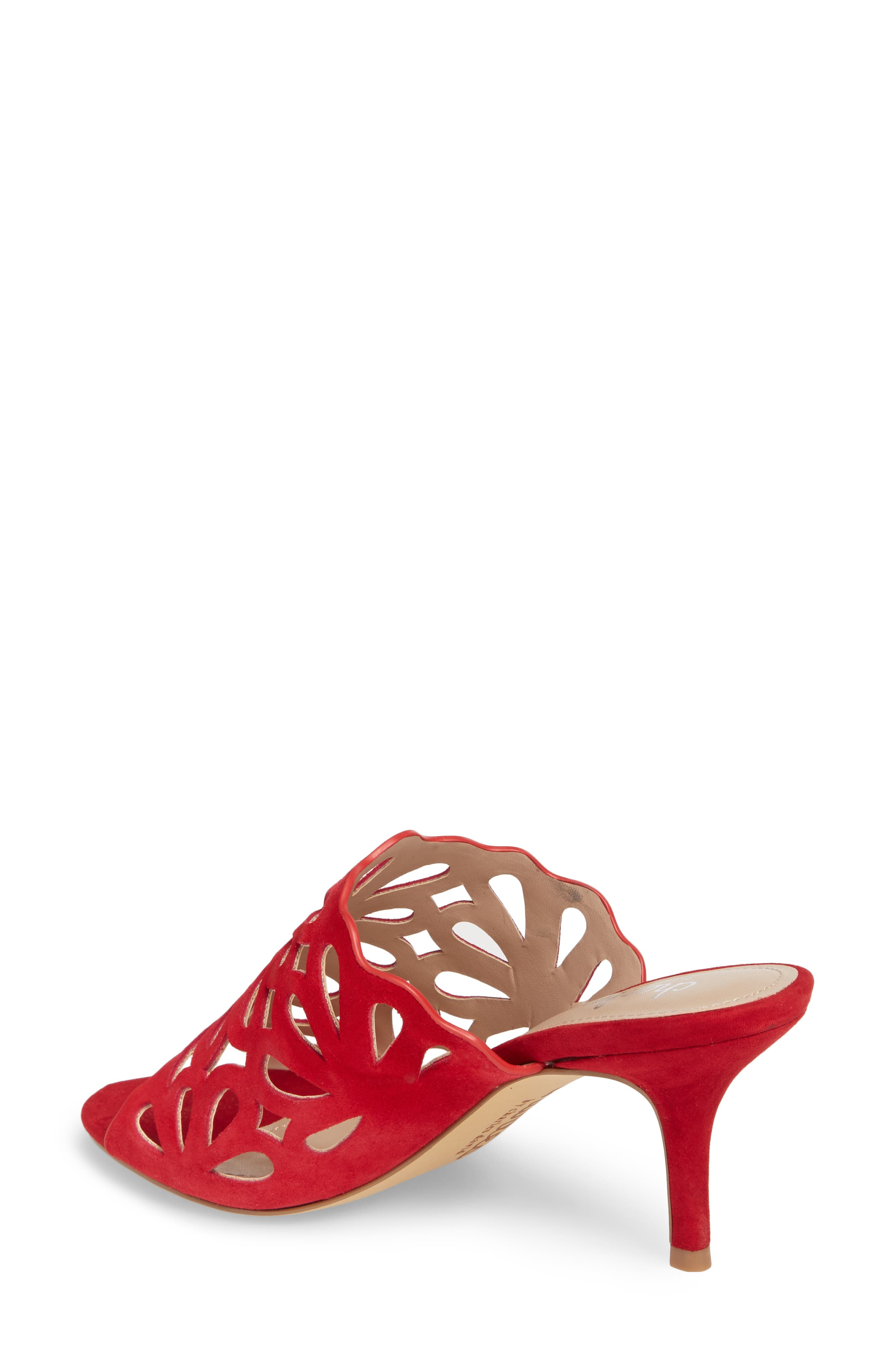 Nicki Perforated Open Toe Mule,                             Alternate thumbnail 2, color,                             Scarlet Suede