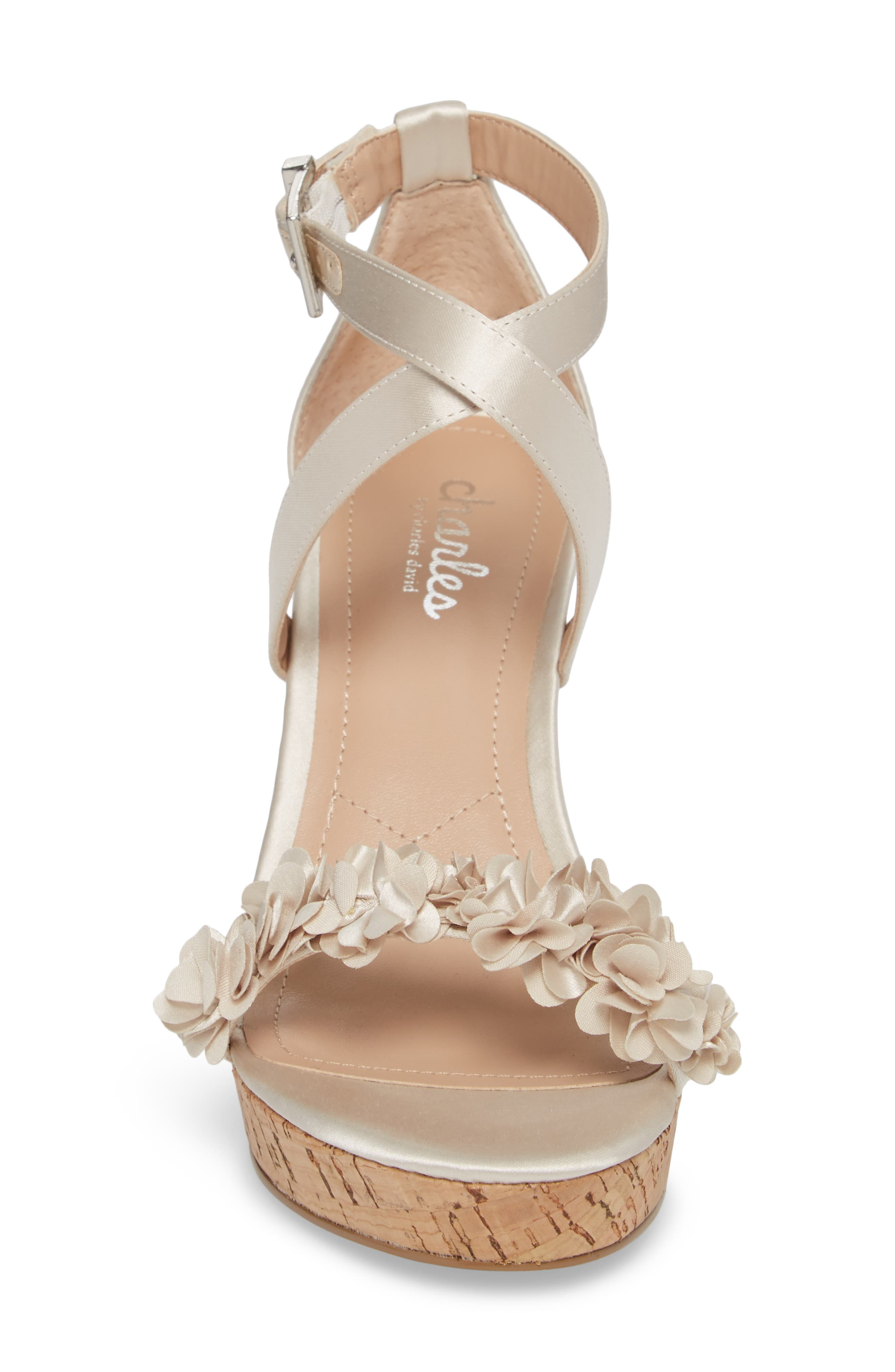 Lauryn Wedge Sandal,                             Alternate thumbnail 4, color,                             Ivory Satin