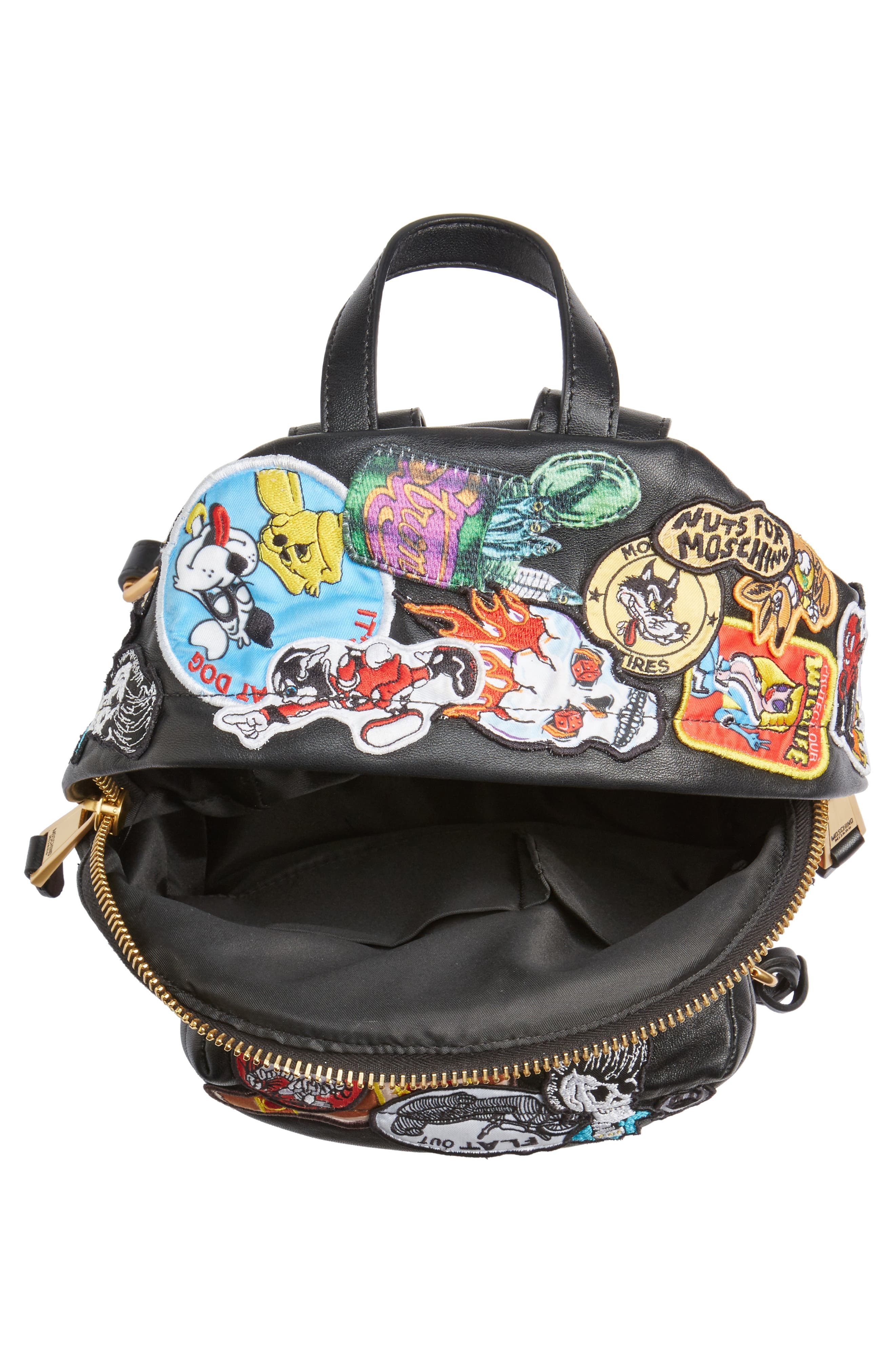 Multi Patch Leather Backpack,                             Alternate thumbnail 4, color,                             Black Multi