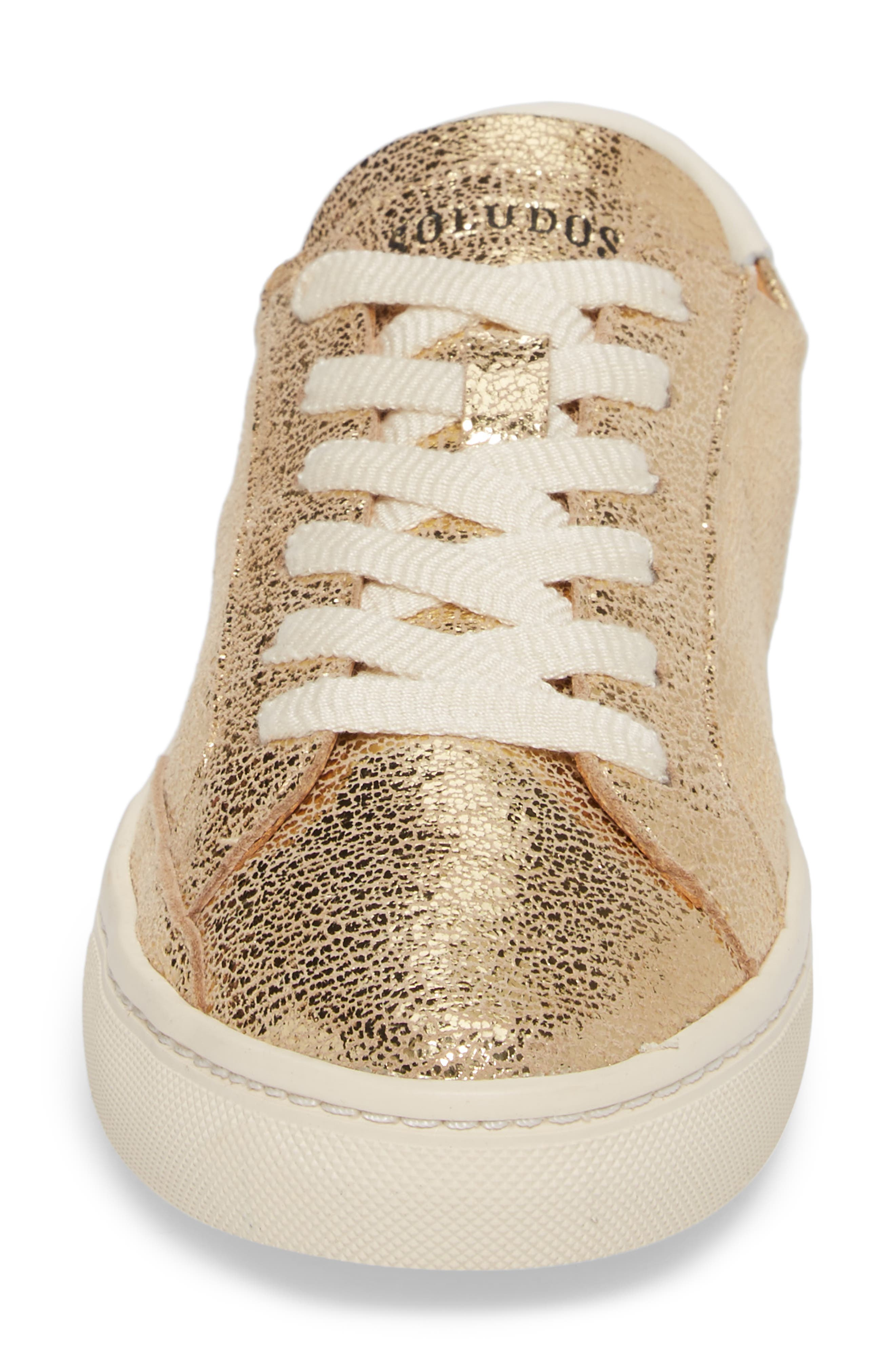 Ibiza Metallic Lace-Up Sneaker,                             Alternate thumbnail 4, color,                             Pale Gold Leather