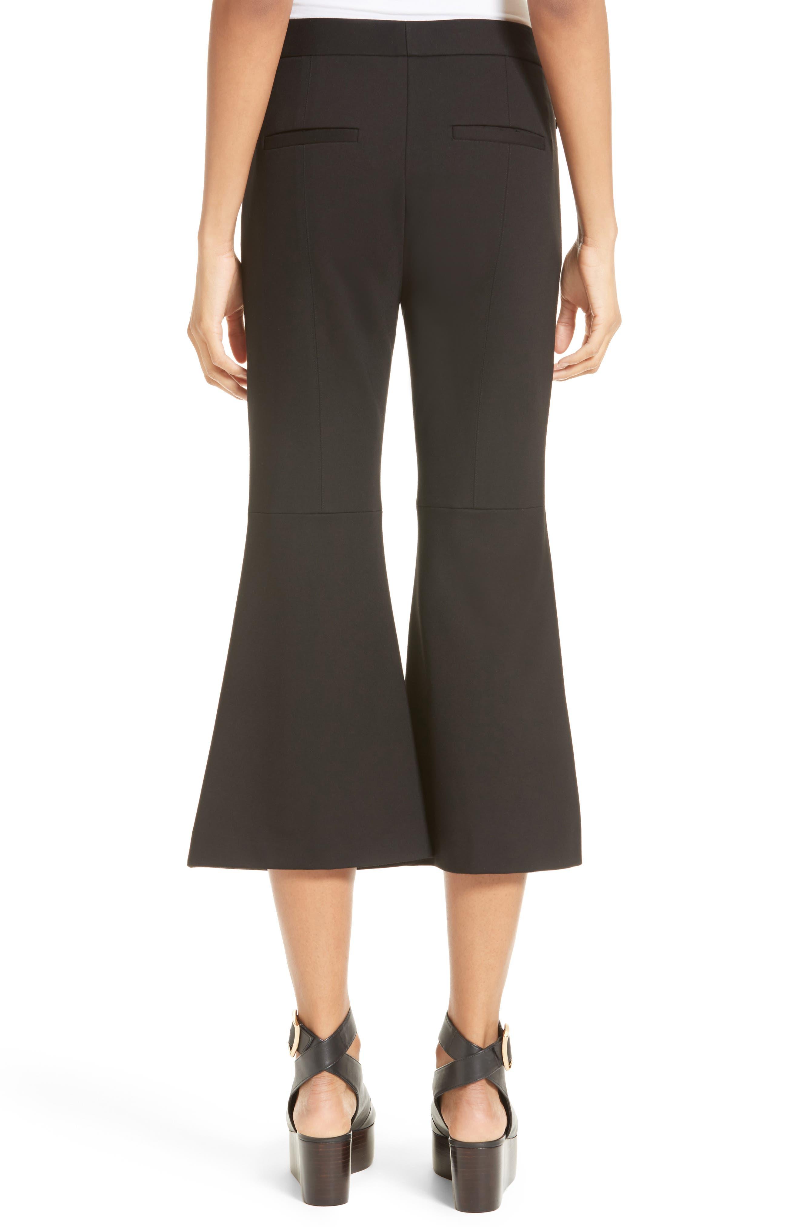 Flared Crop Ponte Pants,                             Alternate thumbnail 2, color,                             Black