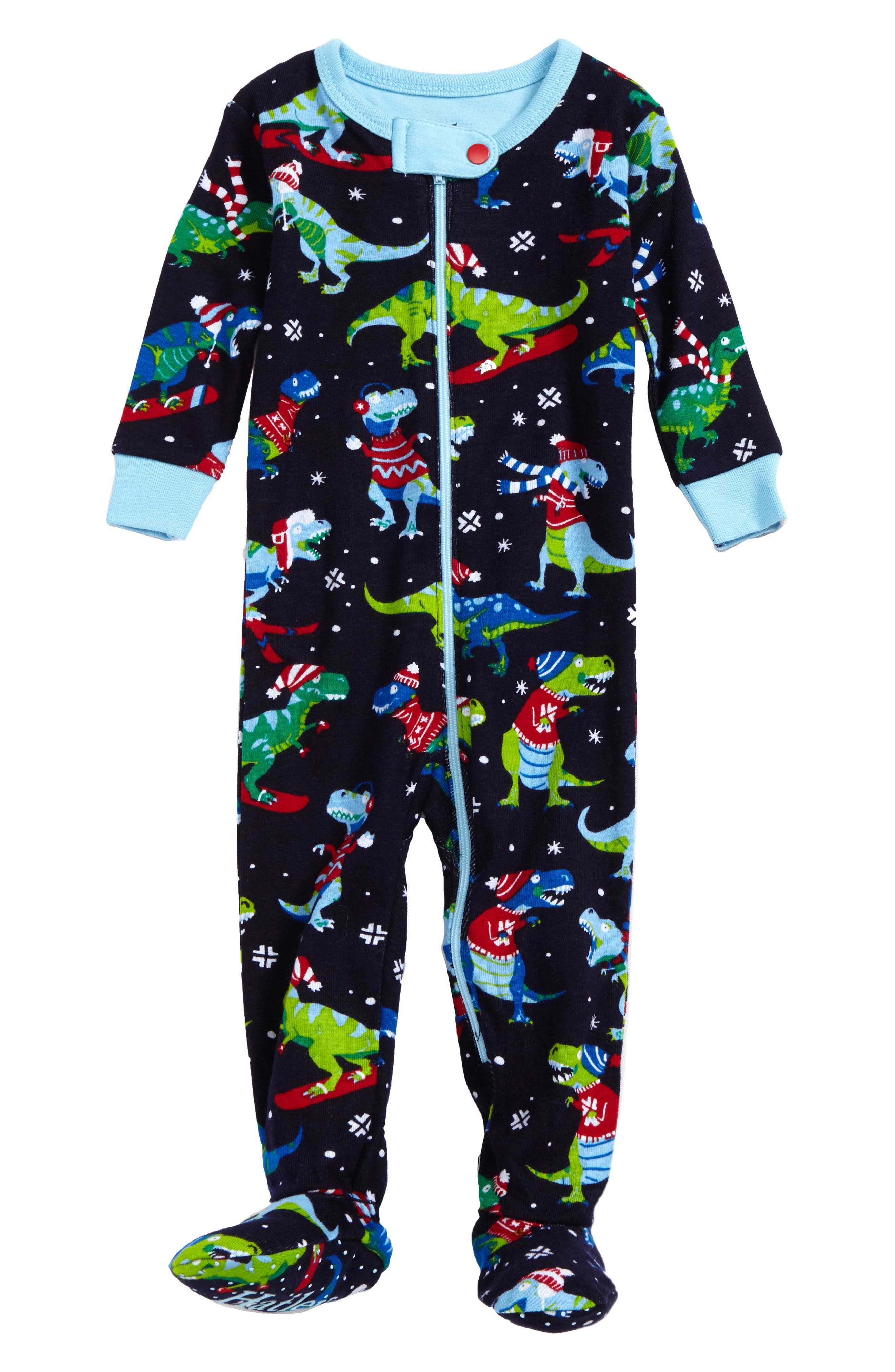 Hatley Winter Sports T-Rex Organic Cotton Fitted One-Piece Pajamas (Baby Boys)