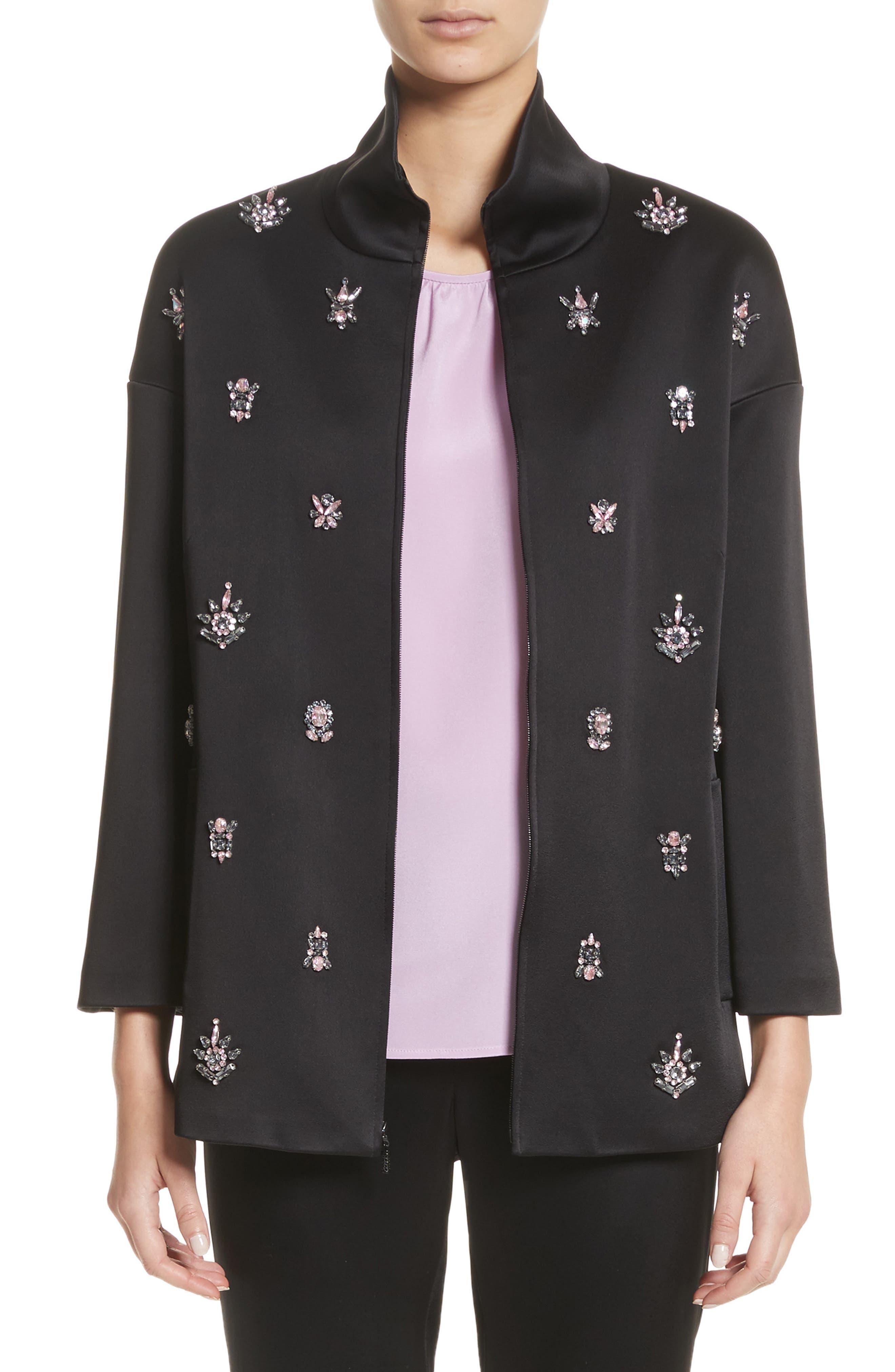 Crystal Embellished Satin Jacket,                         Main,                         color, Caviar
