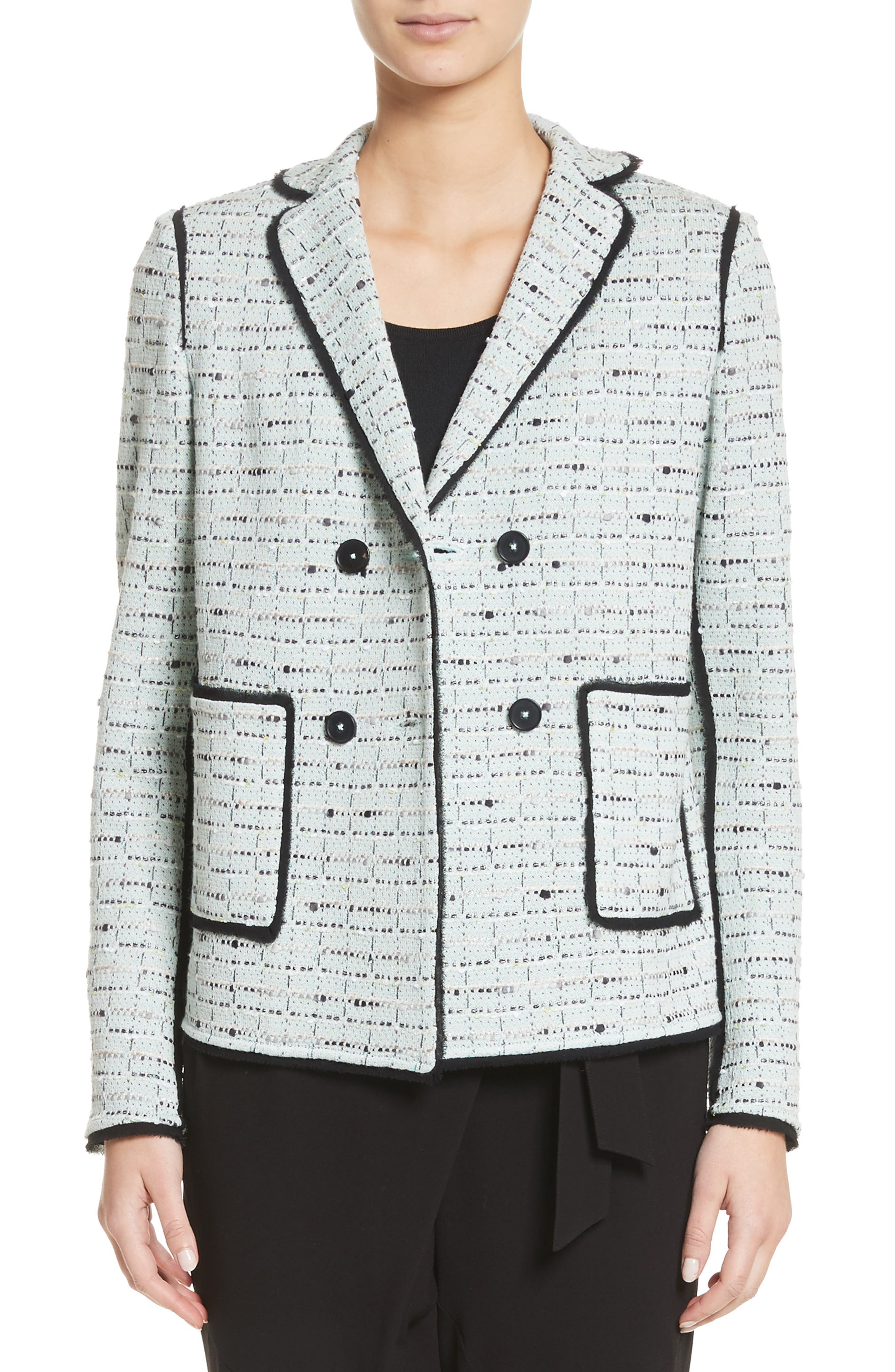 Adriana Tweed Double Breasted Blazer,                             Main thumbnail 1, color,                             Mint Multi
