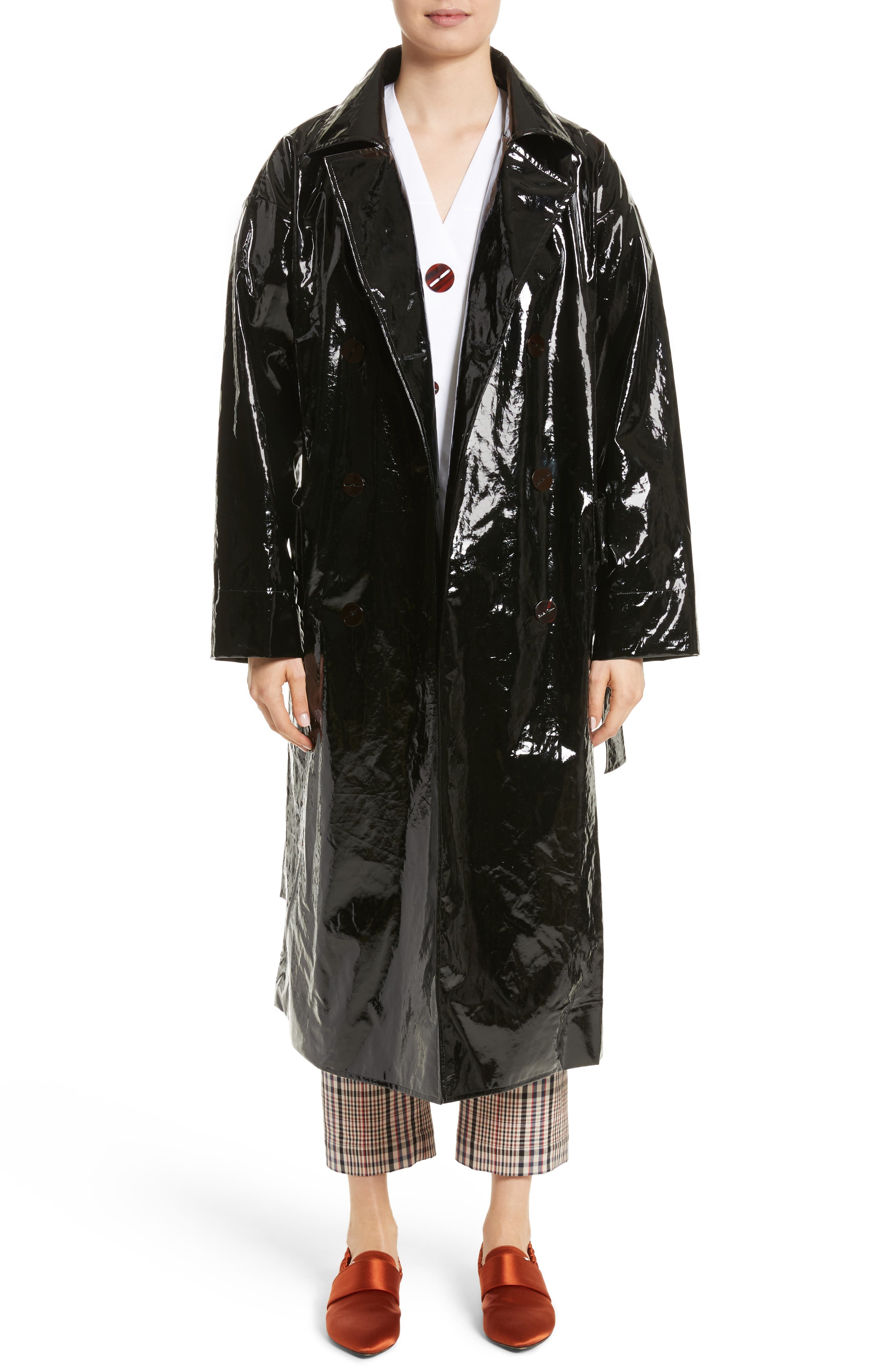 Classic Relaxed Trench Coat,                             Main thumbnail 1, color,                             Black
