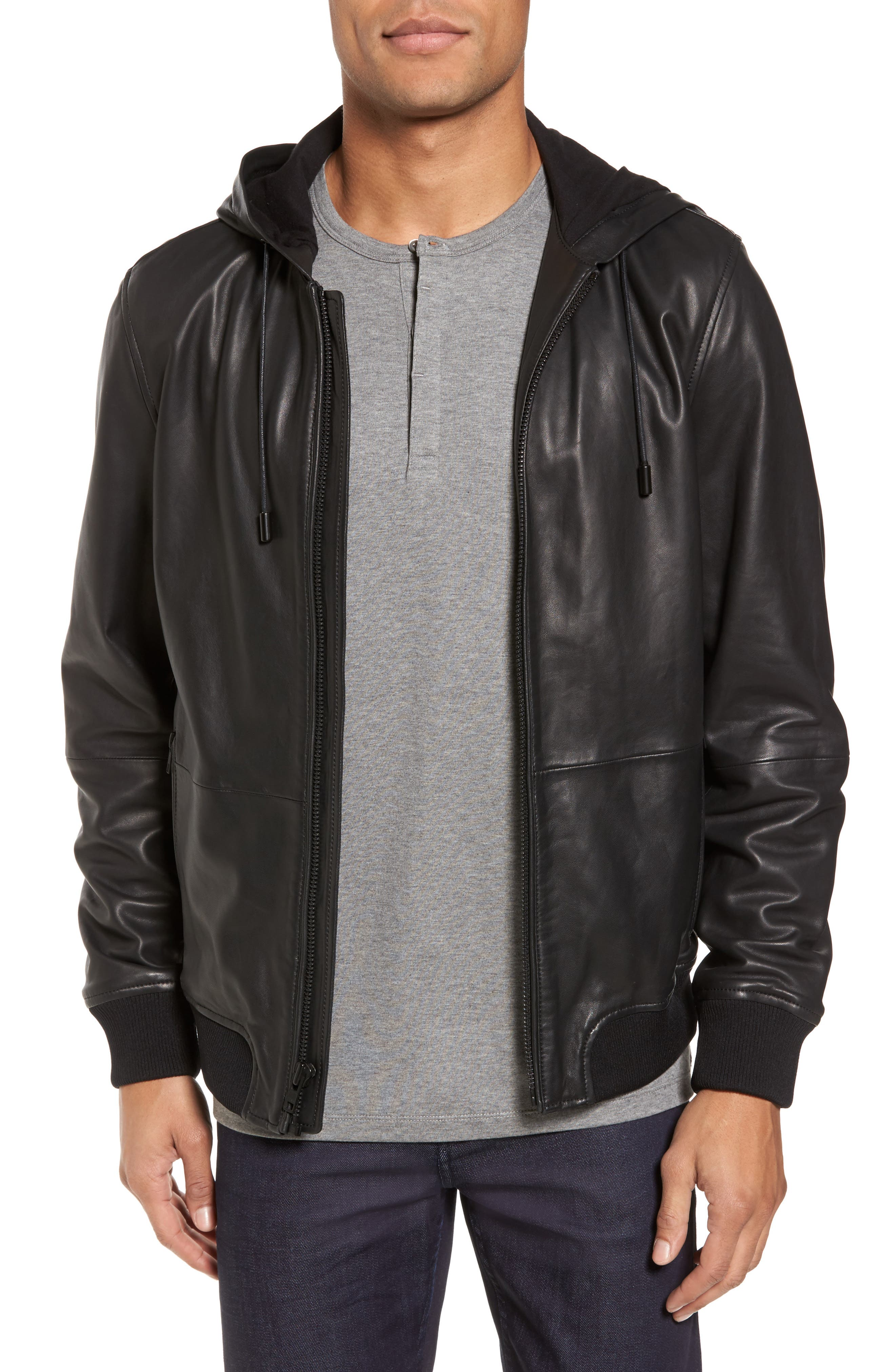 Hooded Leather Jacket,                         Main,                         color, Black