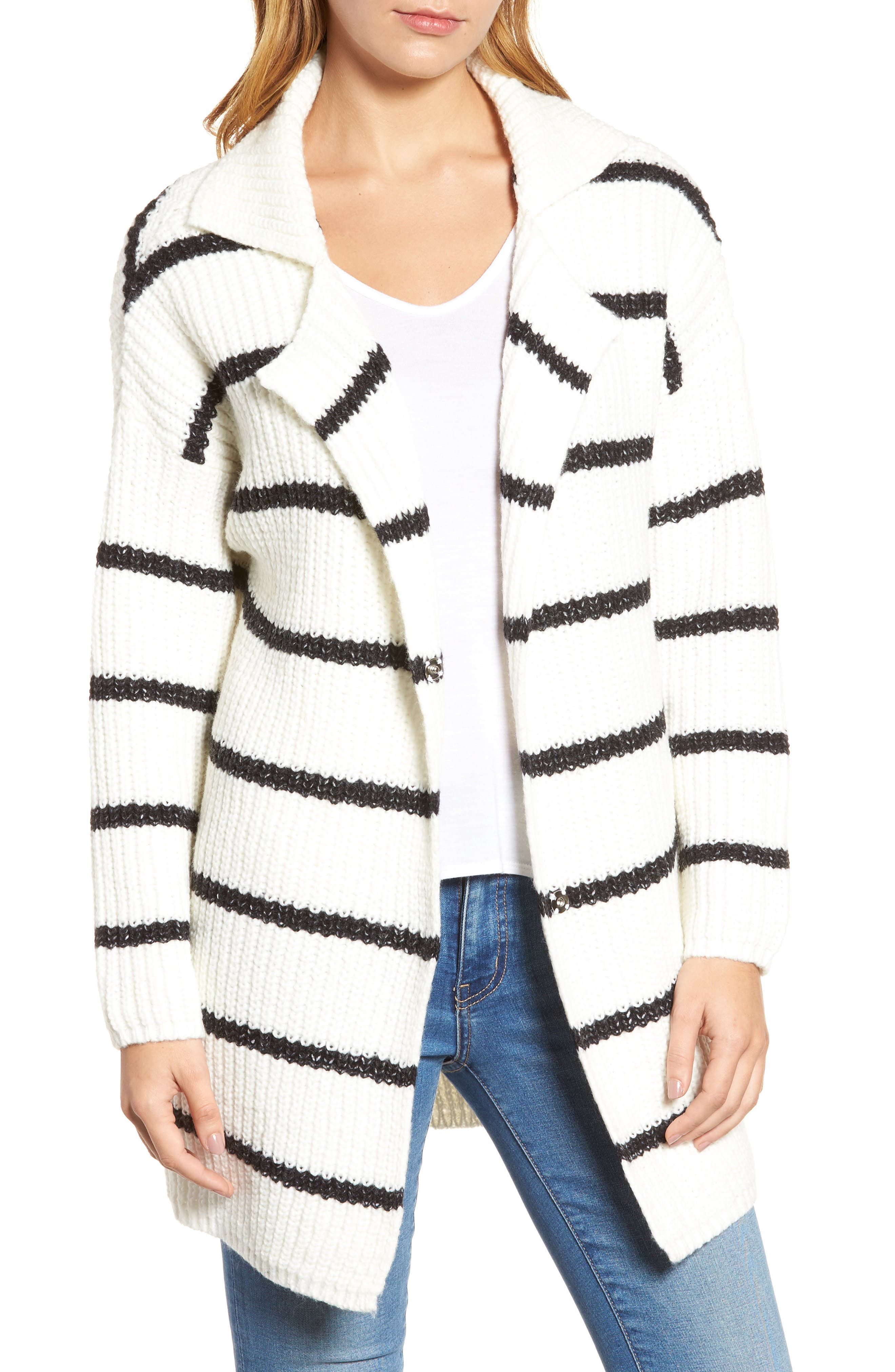 Oversized Notch Collar Cardigan,                         Main,                         color, Cream Black