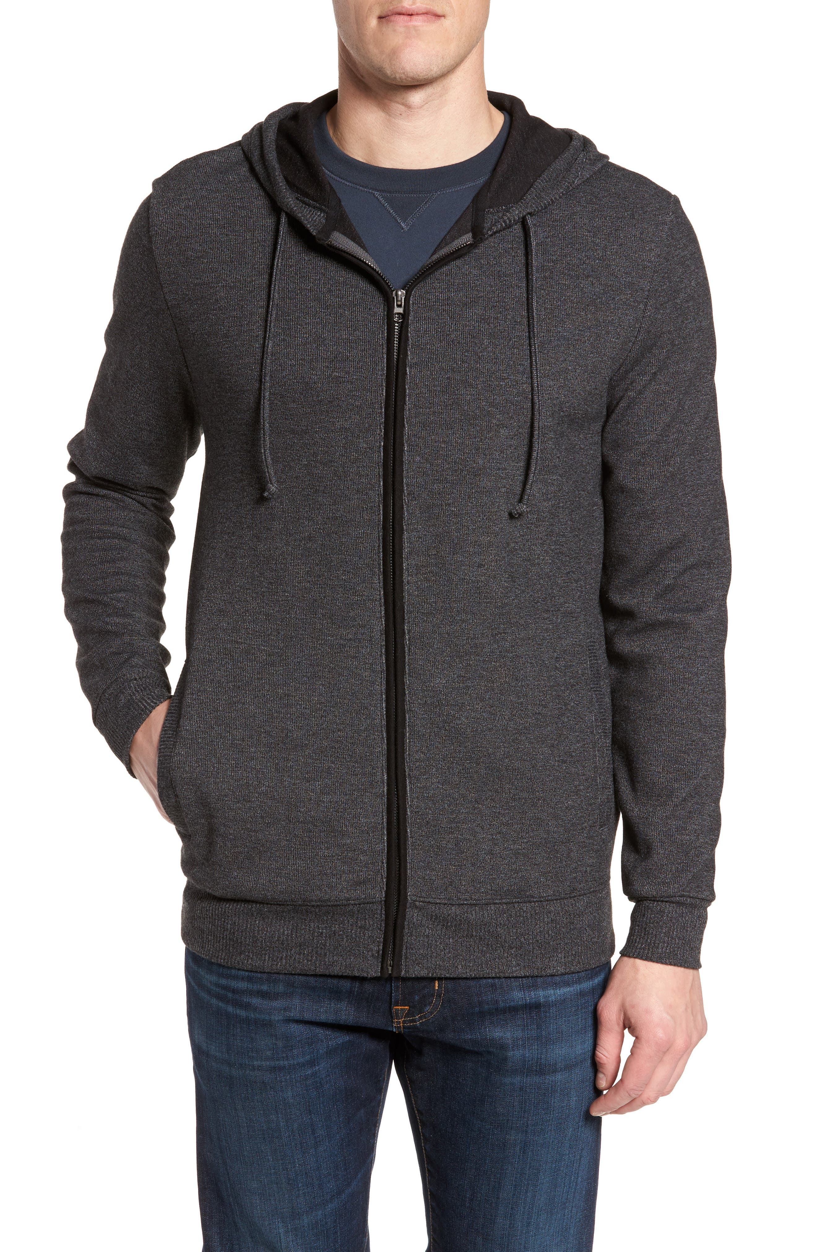 Snare Zip Front Hooded Cardigan,                             Main thumbnail 1, color,                             Black