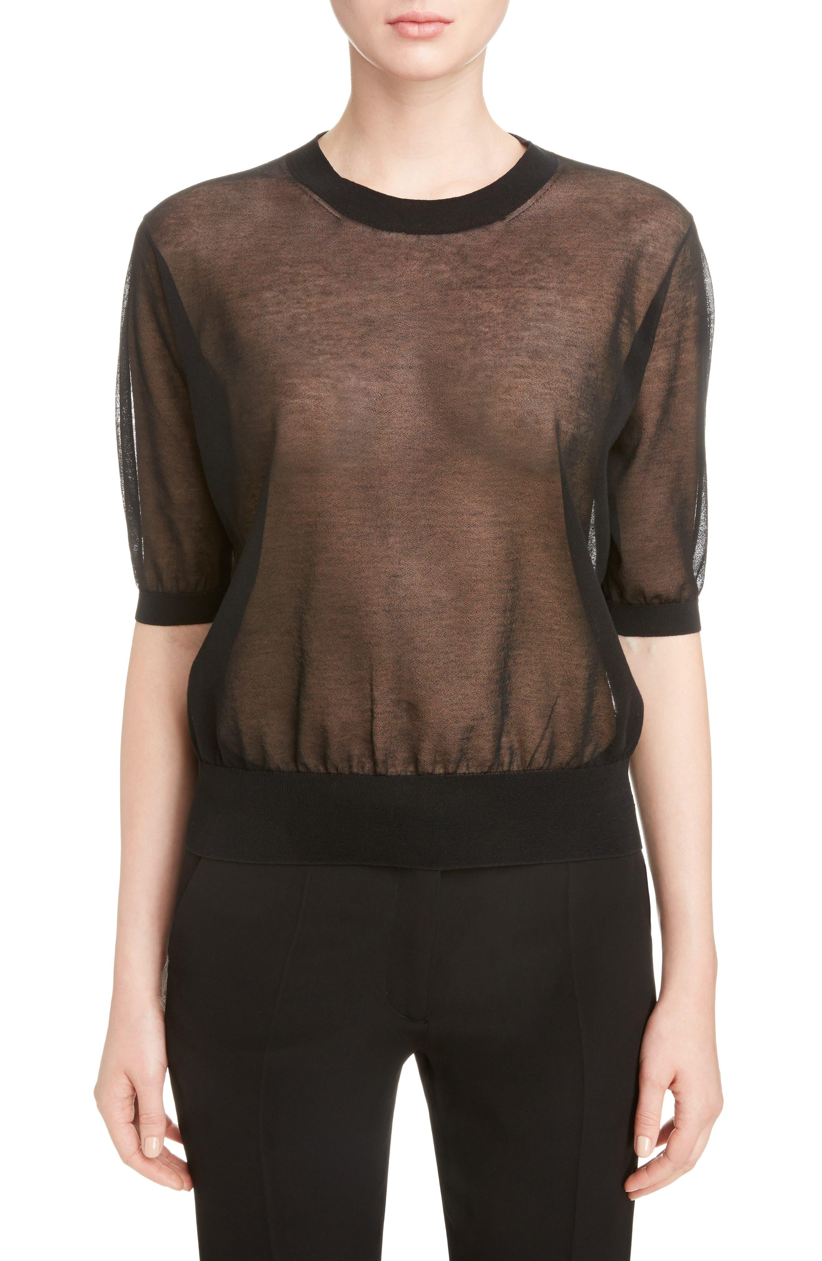 Sheer Cotton Knit Top,                         Main,                         color, Black
