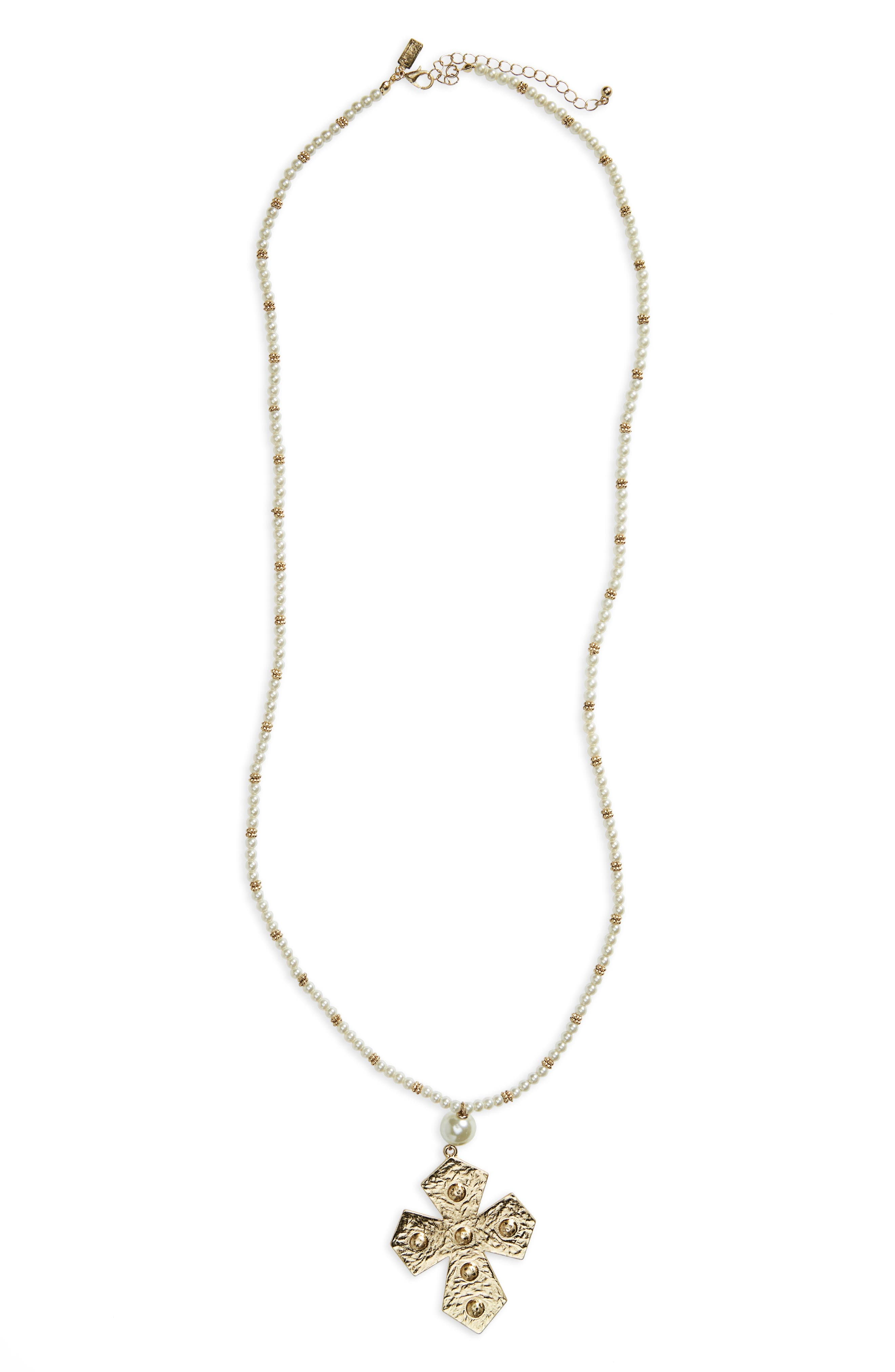 Imitation Pearl Cross Pendant Necklace,                         Main,                         color, White