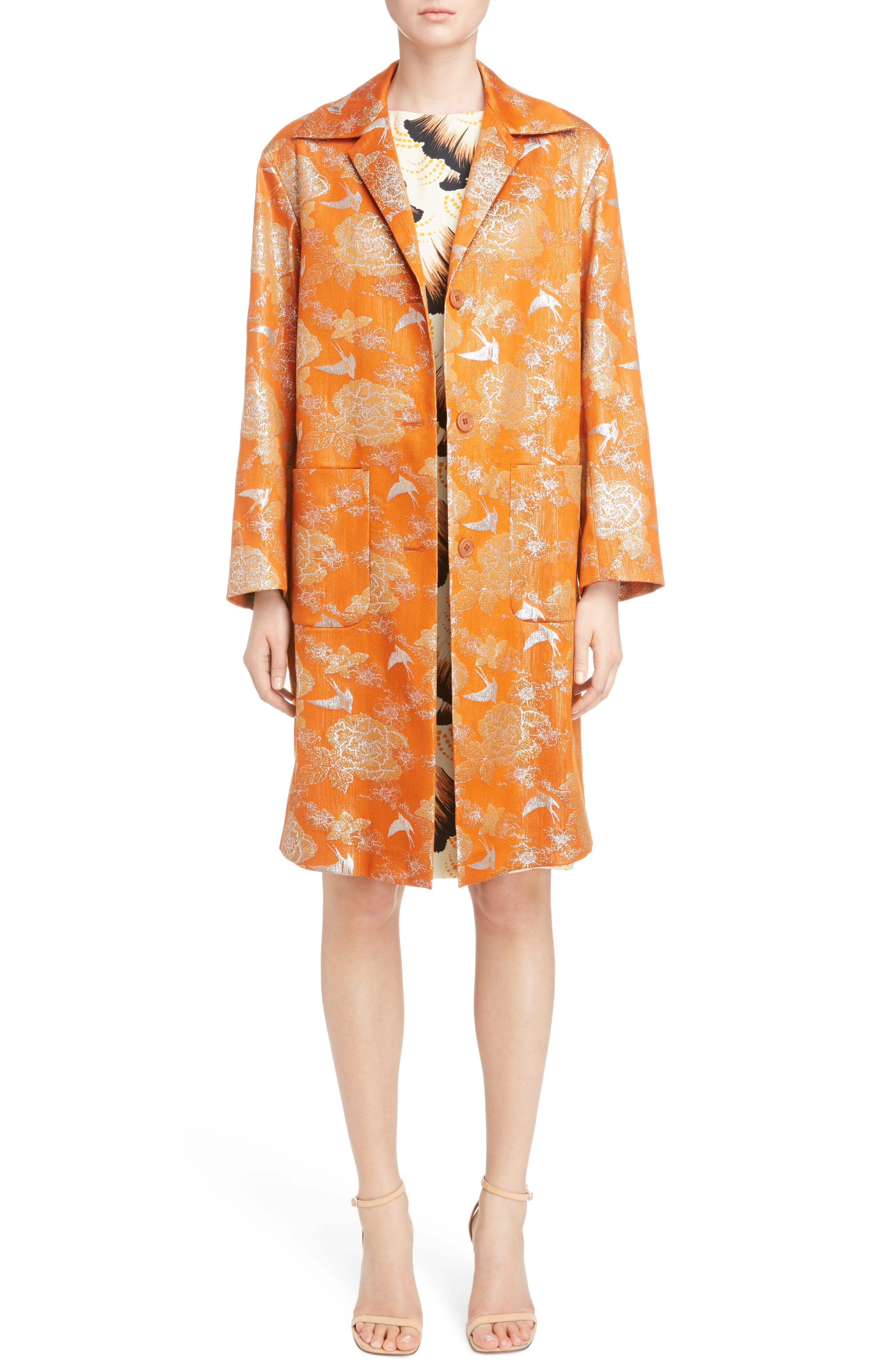 Silver Bird Jacquard Coat,                             Alternate thumbnail 6, color,                             Orange