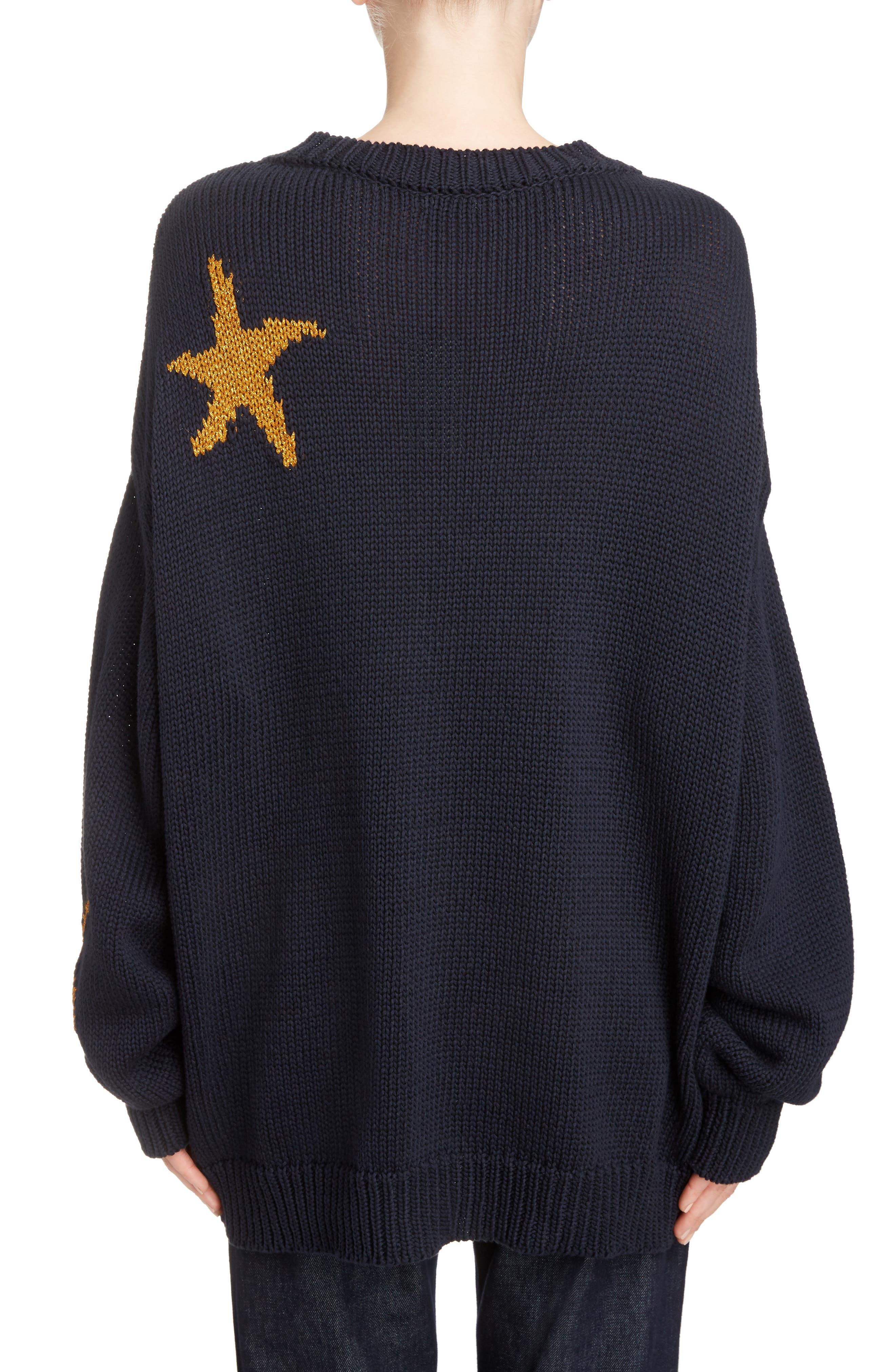 Starfish Intarsia Sweater,                             Alternate thumbnail 3, color,                             Navy