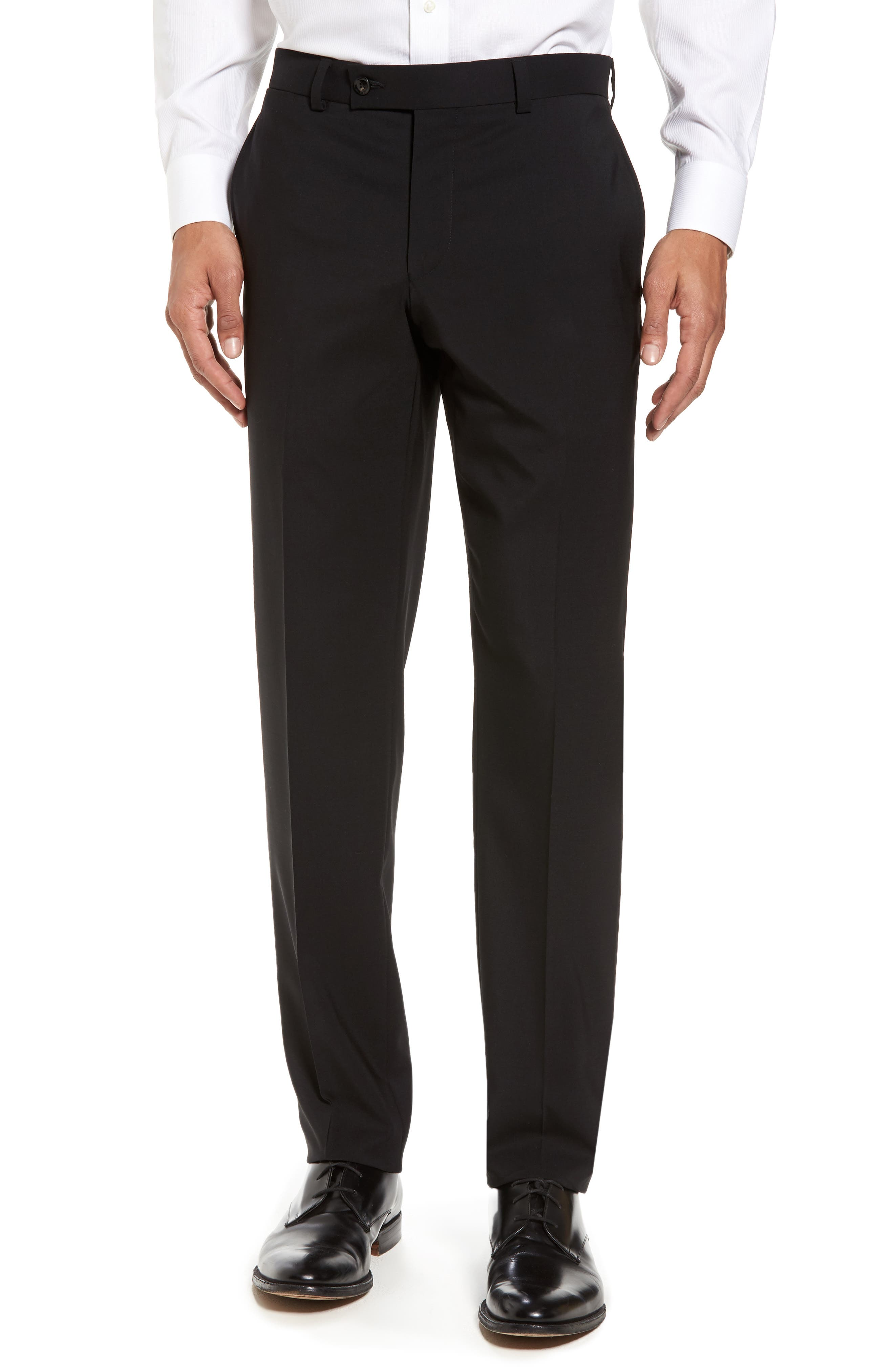 Jay Trim Fit Solid Wool Suit,                             Alternate thumbnail 6, color,                             Black