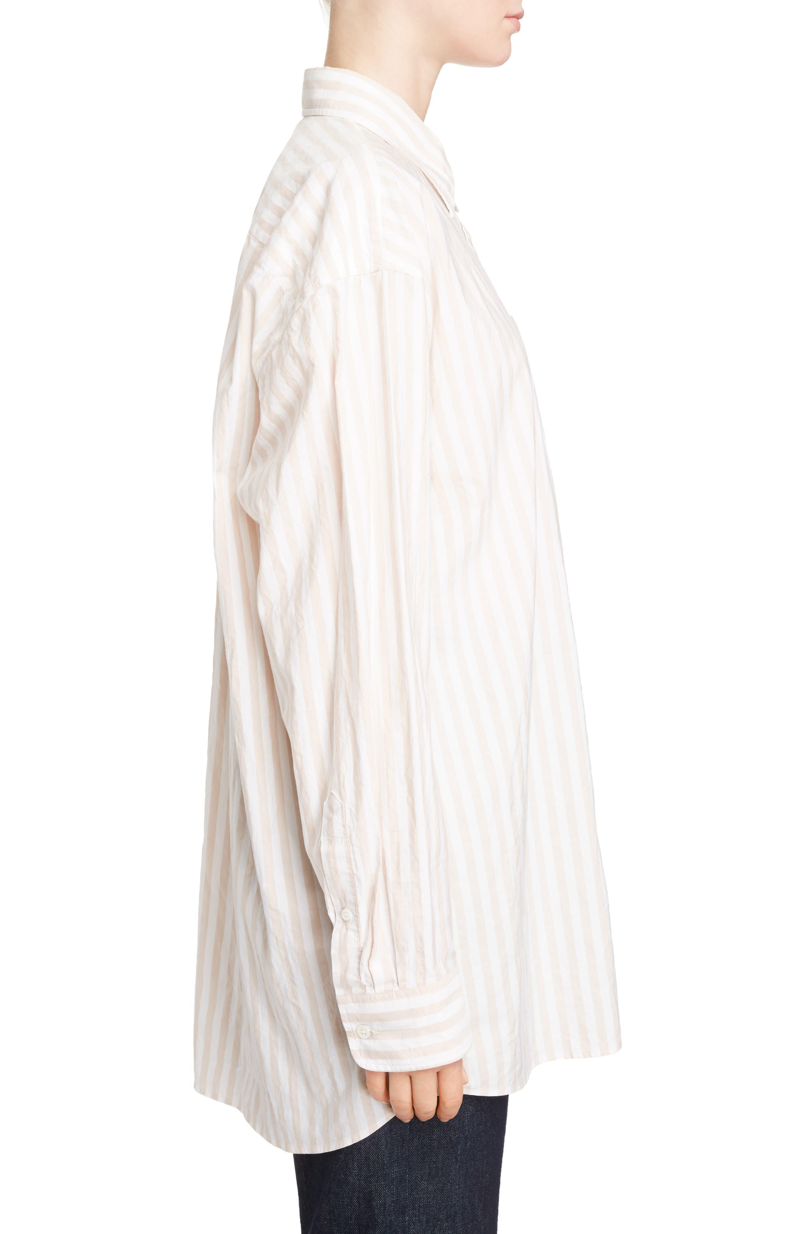 Stripe Cotton Oversize Shirt,                             Alternate thumbnail 4, color,                             Old Rose