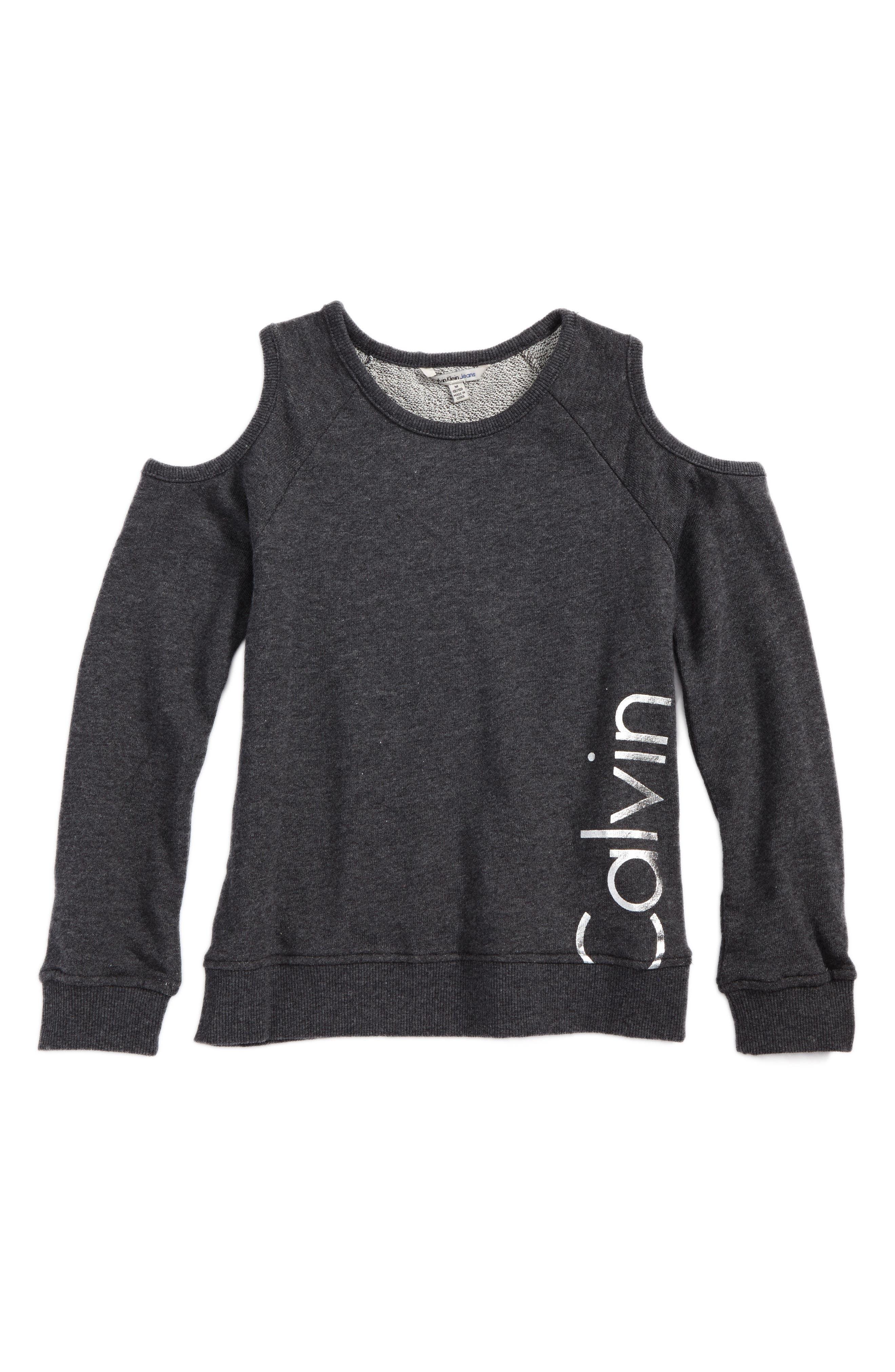Calvin Klein Logo Graphic Cold Shoulder Sweatshirt (Big Girls)