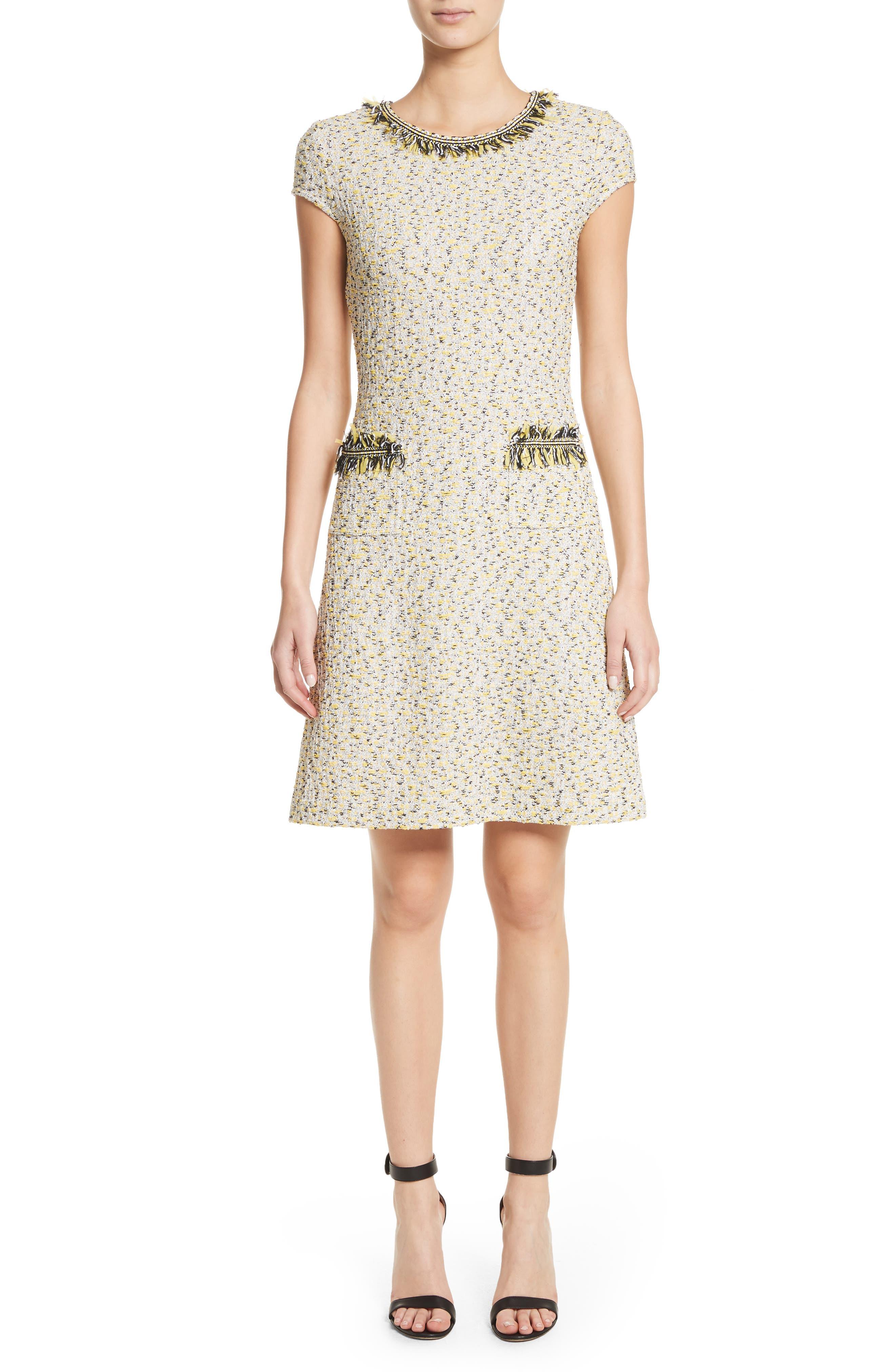 Romee Tweed Dress,                             Main thumbnail 1, color,                             Citron Multi