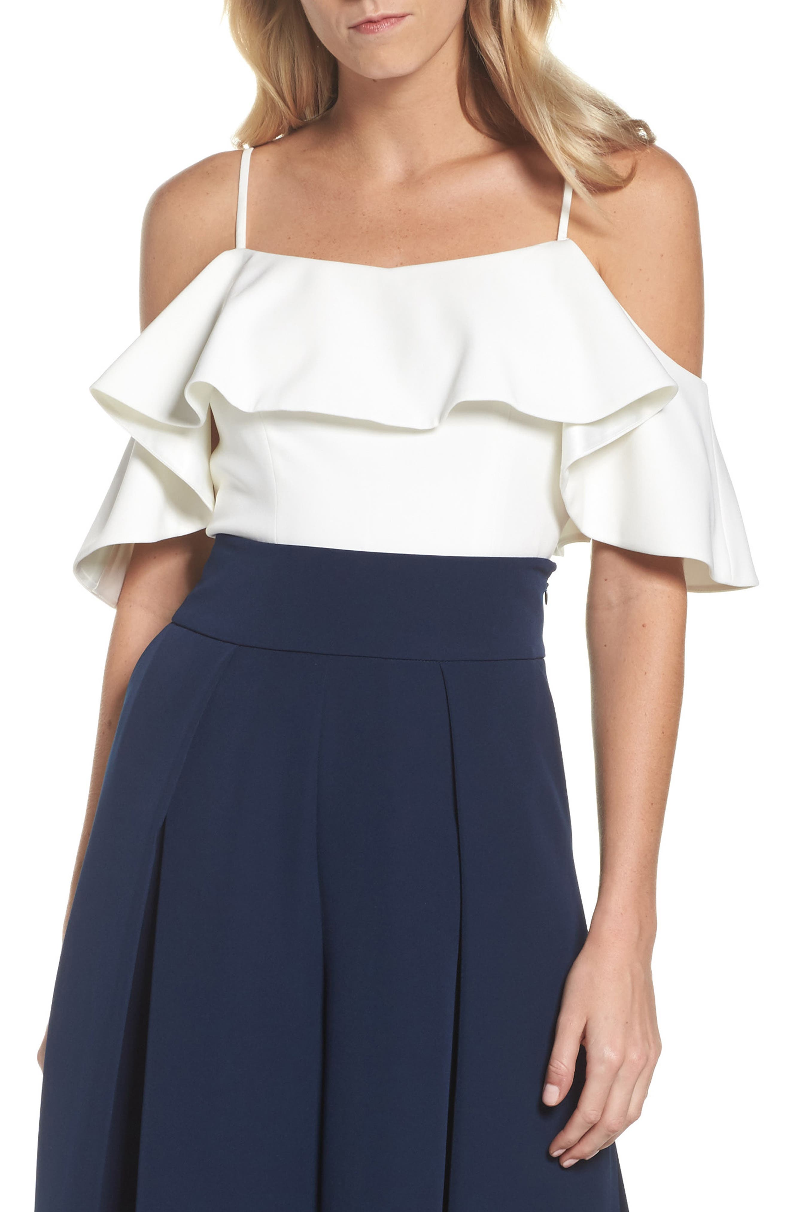 Ruffled Cold Shoulder Top,                         Main,                         color, Ivory