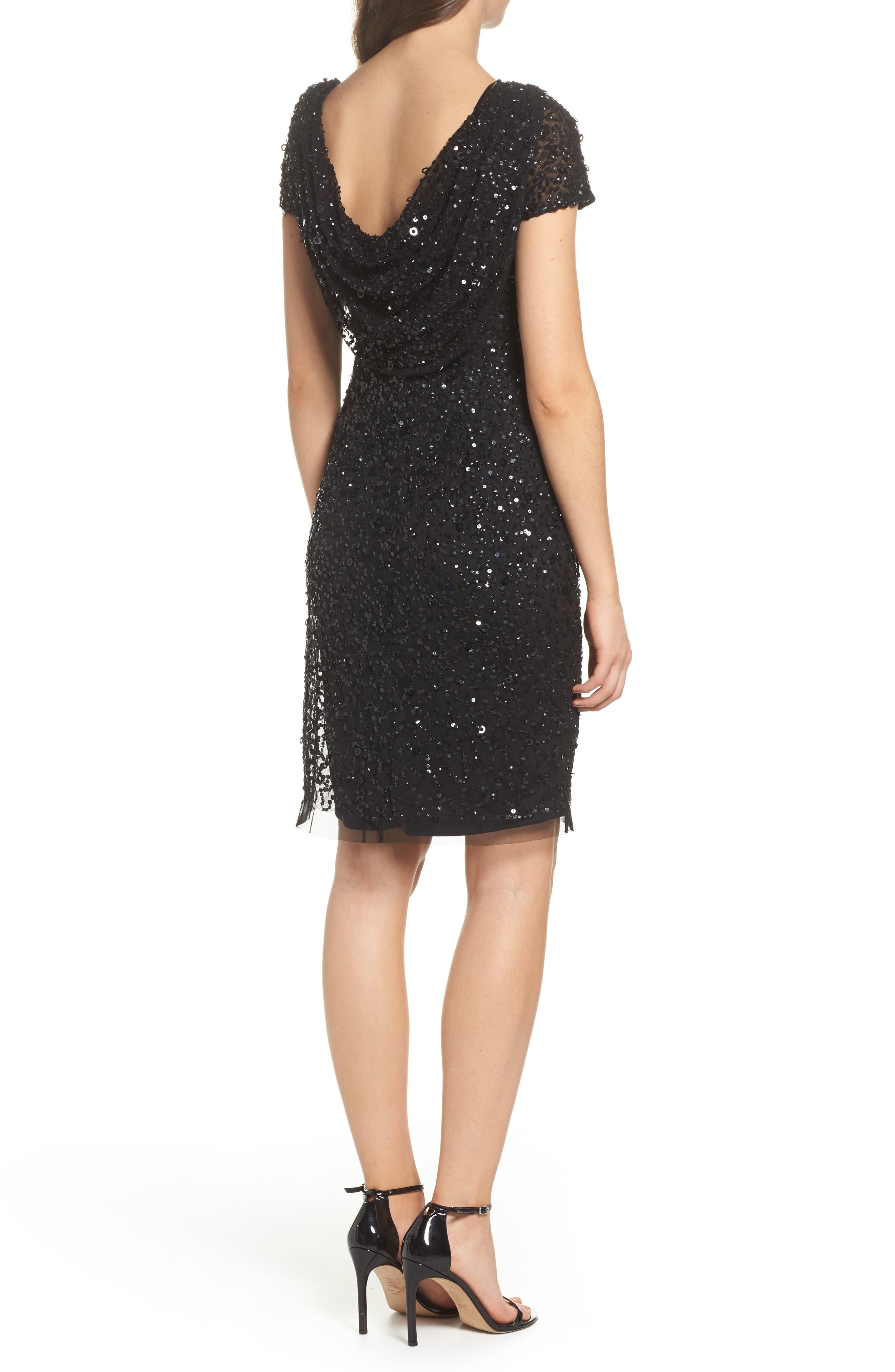 Sequin Cowl Back Dress,                             Alternate thumbnail 2, color,                             Black
