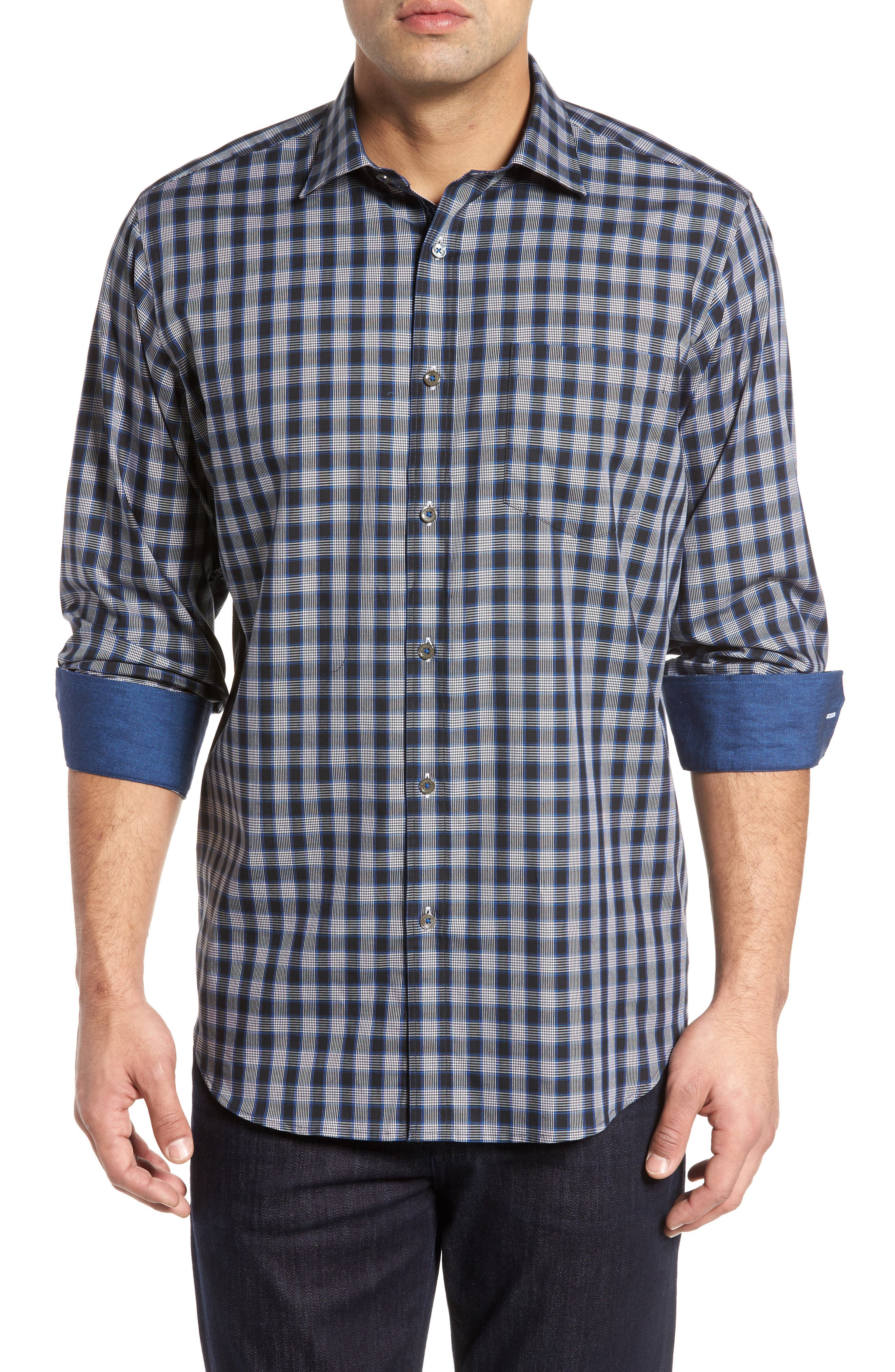 Classic Fit Check Sport Shirt,                         Main,                         color, Midnight