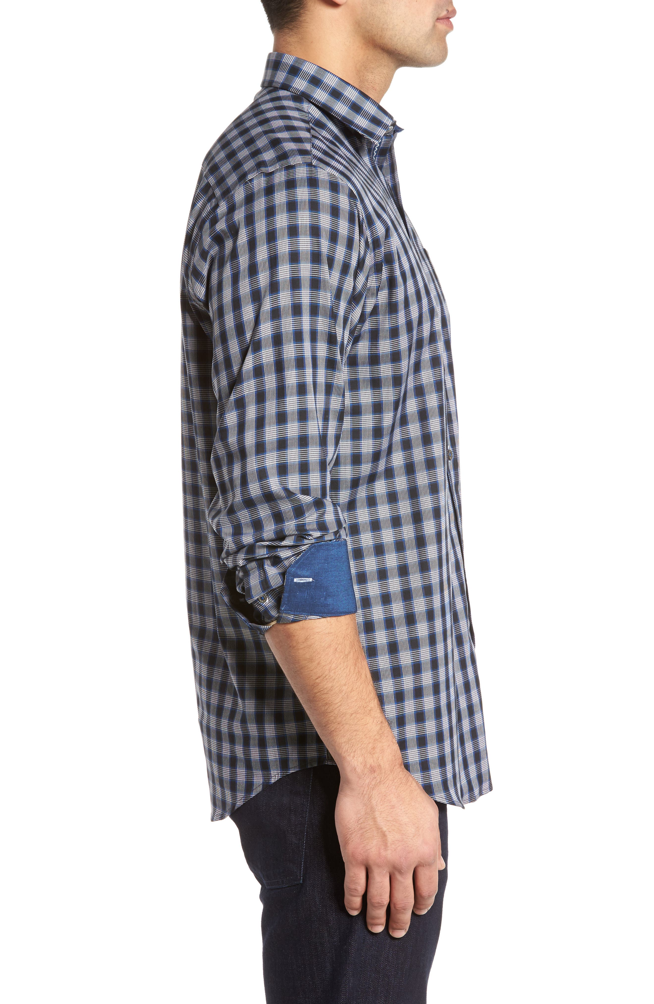 Classic Fit Check Sport Shirt,                             Alternate thumbnail 3, color,                             Midnight