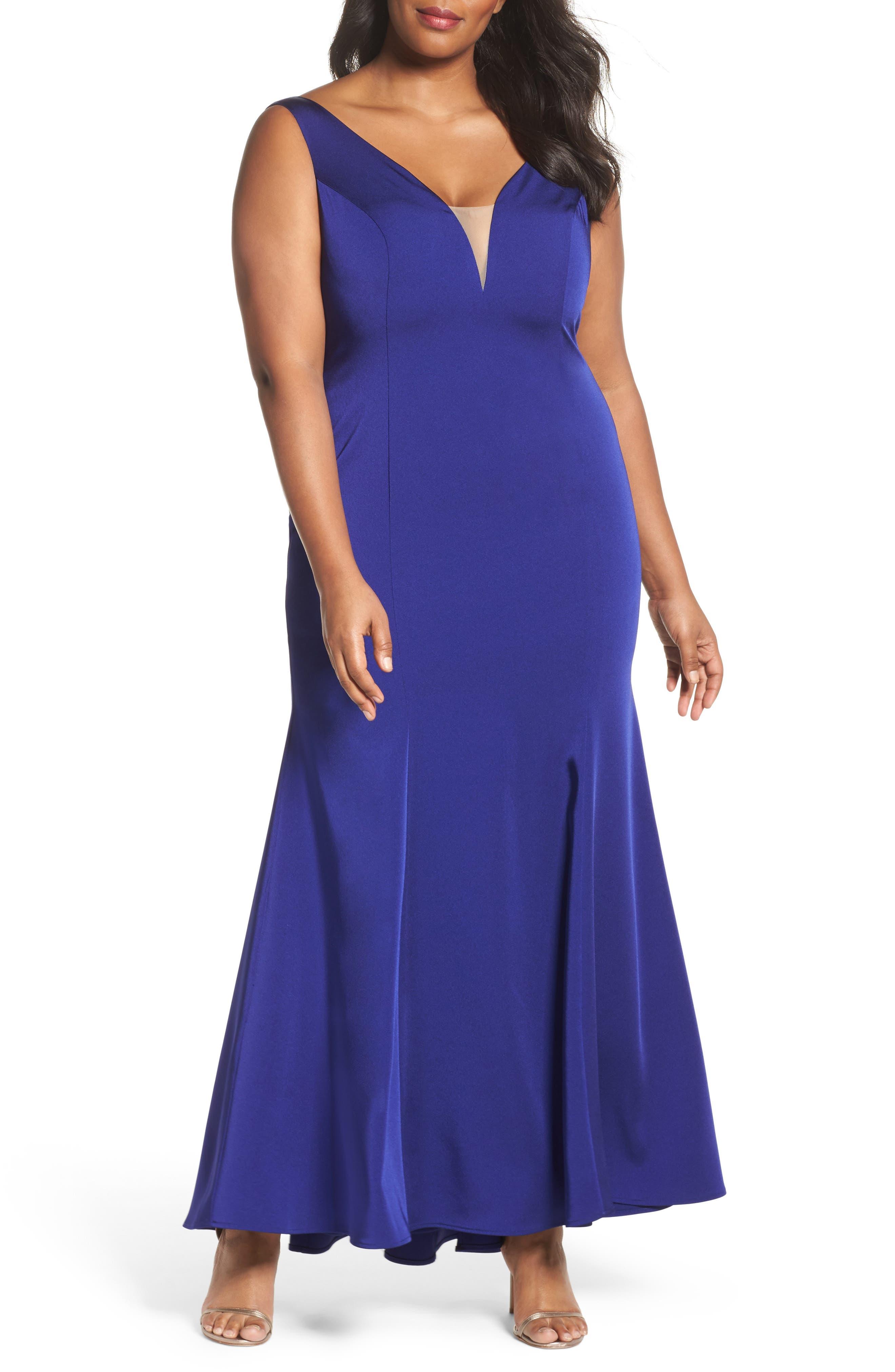 Illusion Neck Mermaid Gown,                         Main,                         color, Cobalt