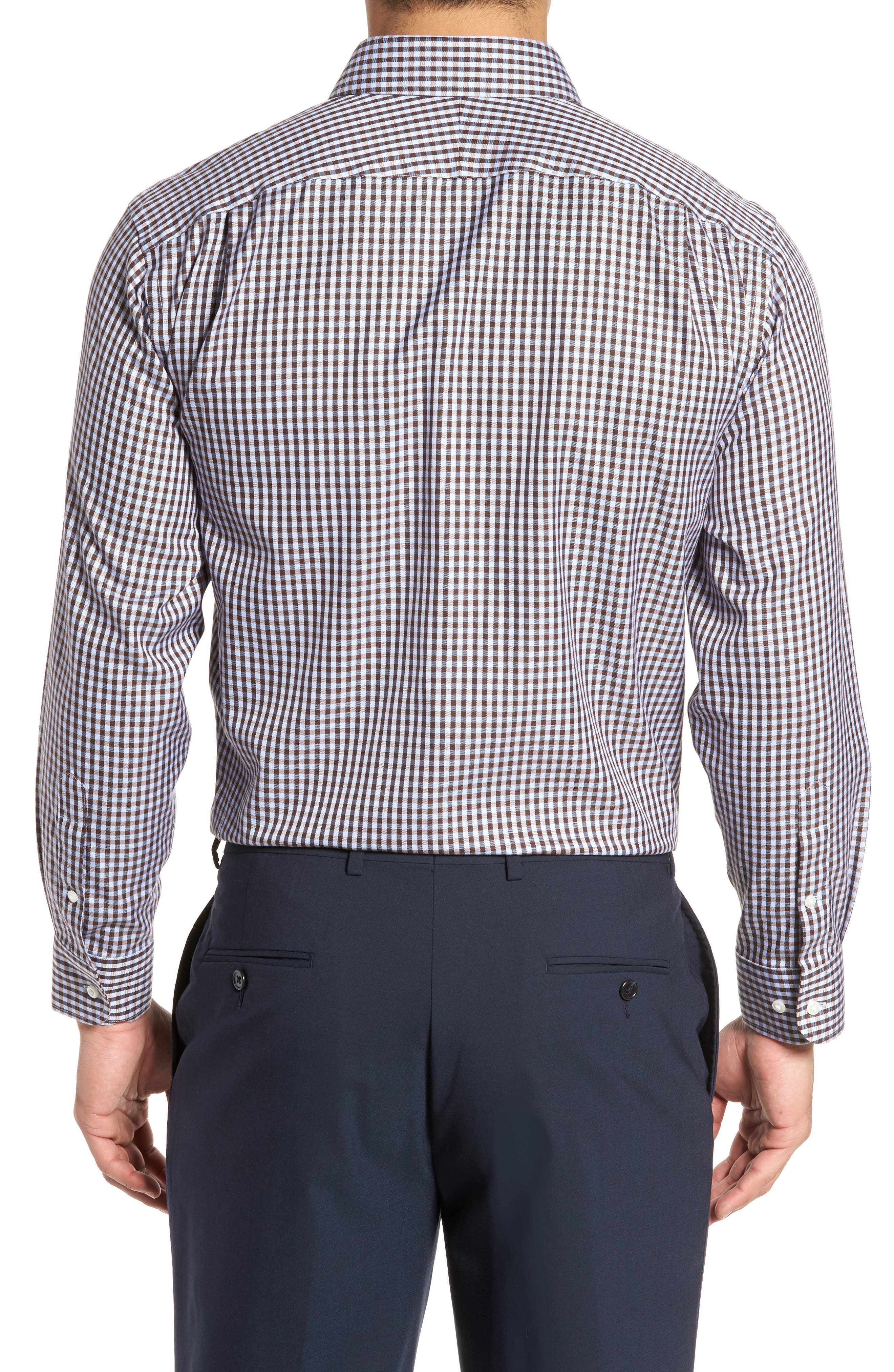 Smartcare<sup>™</sup> Traditional Fit Check Dress Shirt,                             Alternate thumbnail 3, color,                             Brown Terra