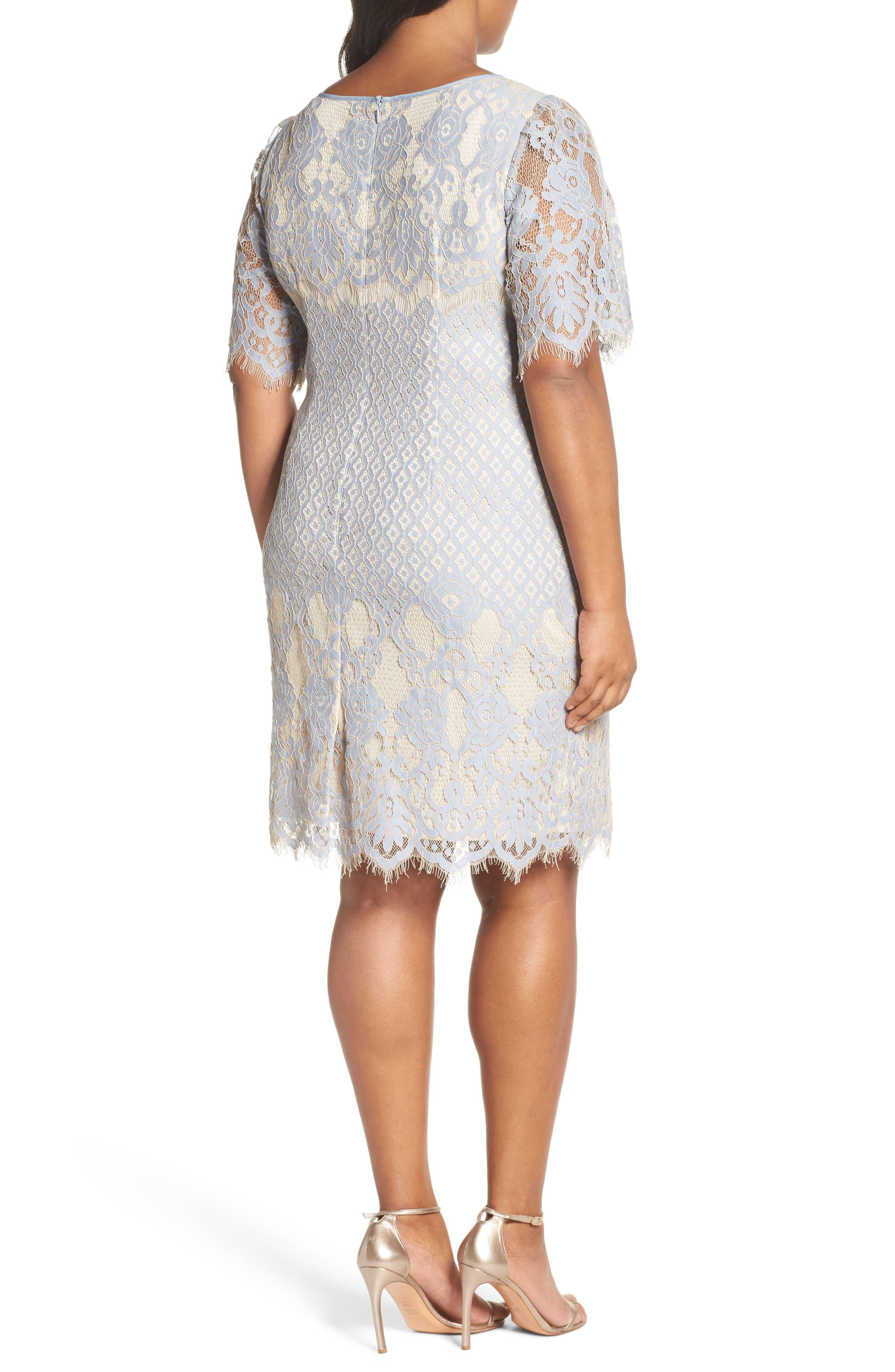 Bell Sleeve Georgia Lace Sheath Dress,                             Alternate thumbnail 2, color,                             Sky/ Cadmium