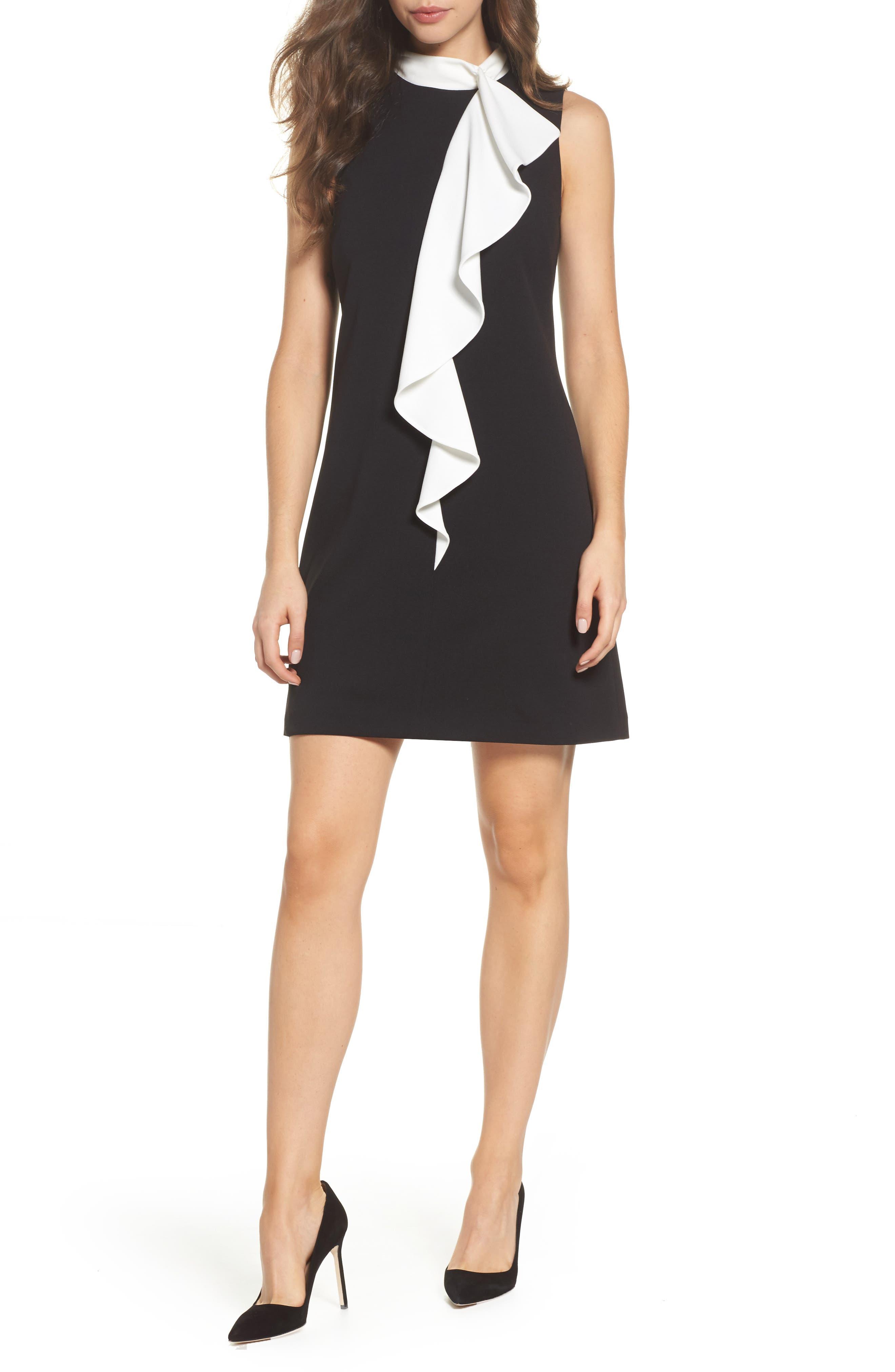 Ruffle Collar Shift Dress,                         Main,                         color, Black/ Ivory