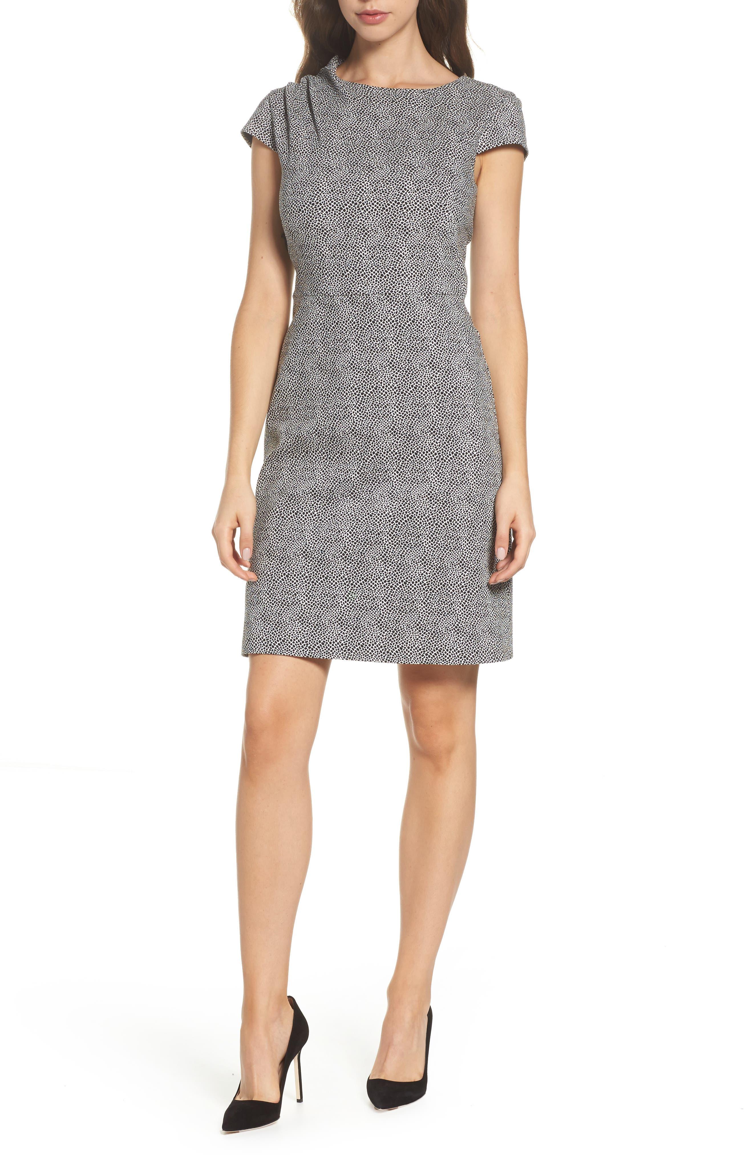 Jacquard Sheath Dress,                         Main,                         color, Ivory/ Black