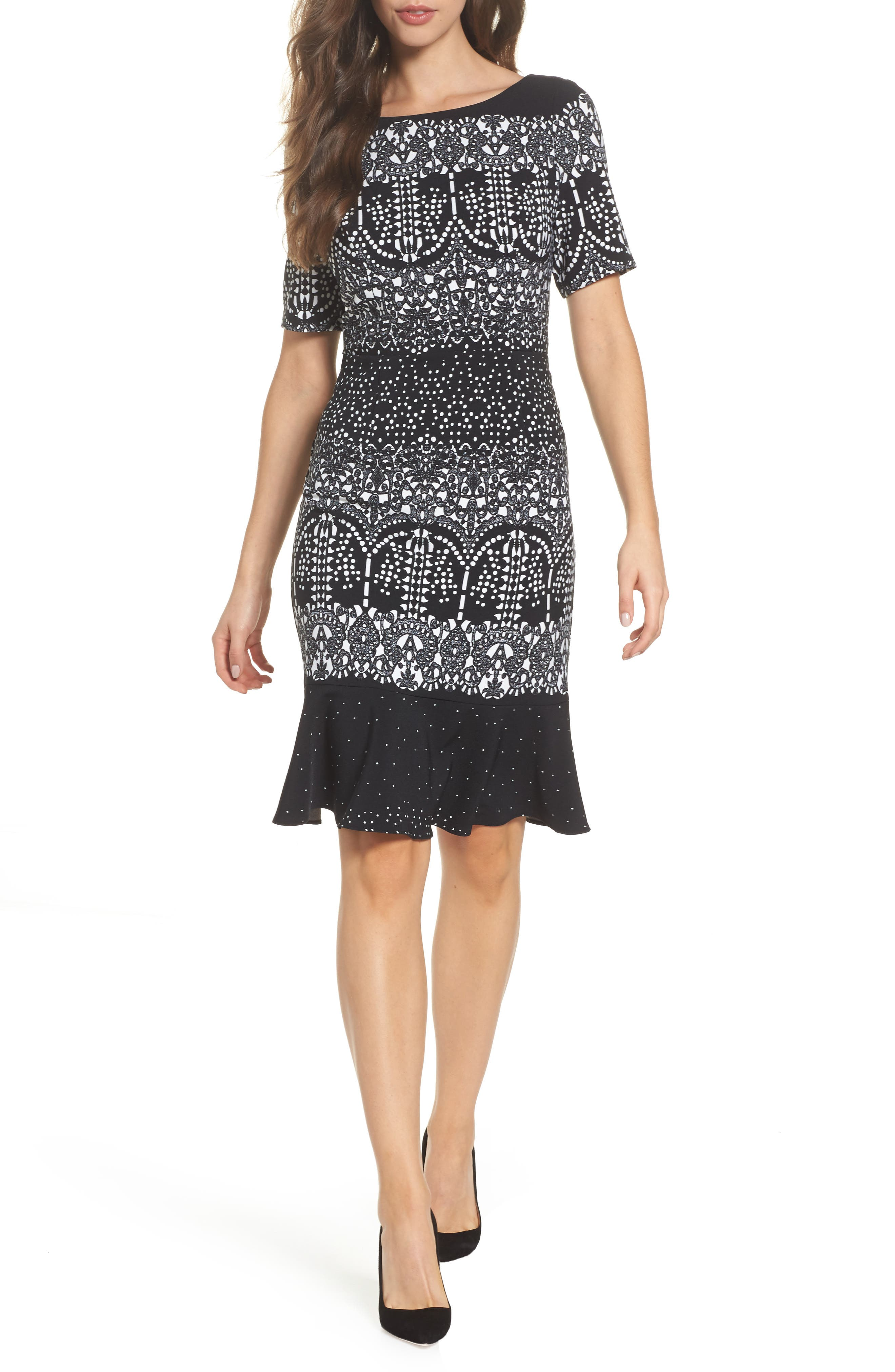 Majesty Lace Fit & Flare Dress,                         Main,                         color, Black Multi