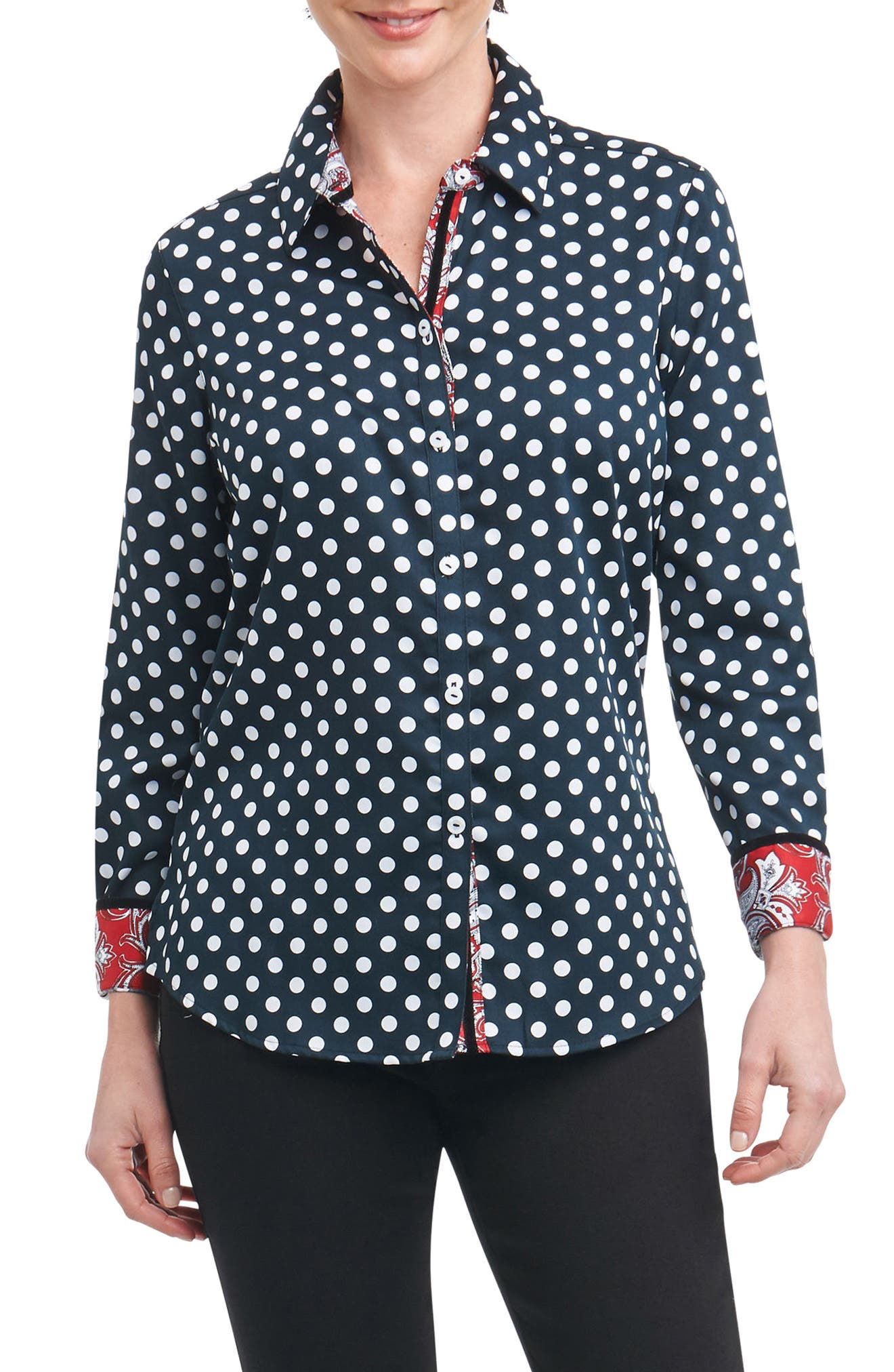 Main Image - Foxcroft Ava Dot Paisley Trim Shirt (Regular & Petite)