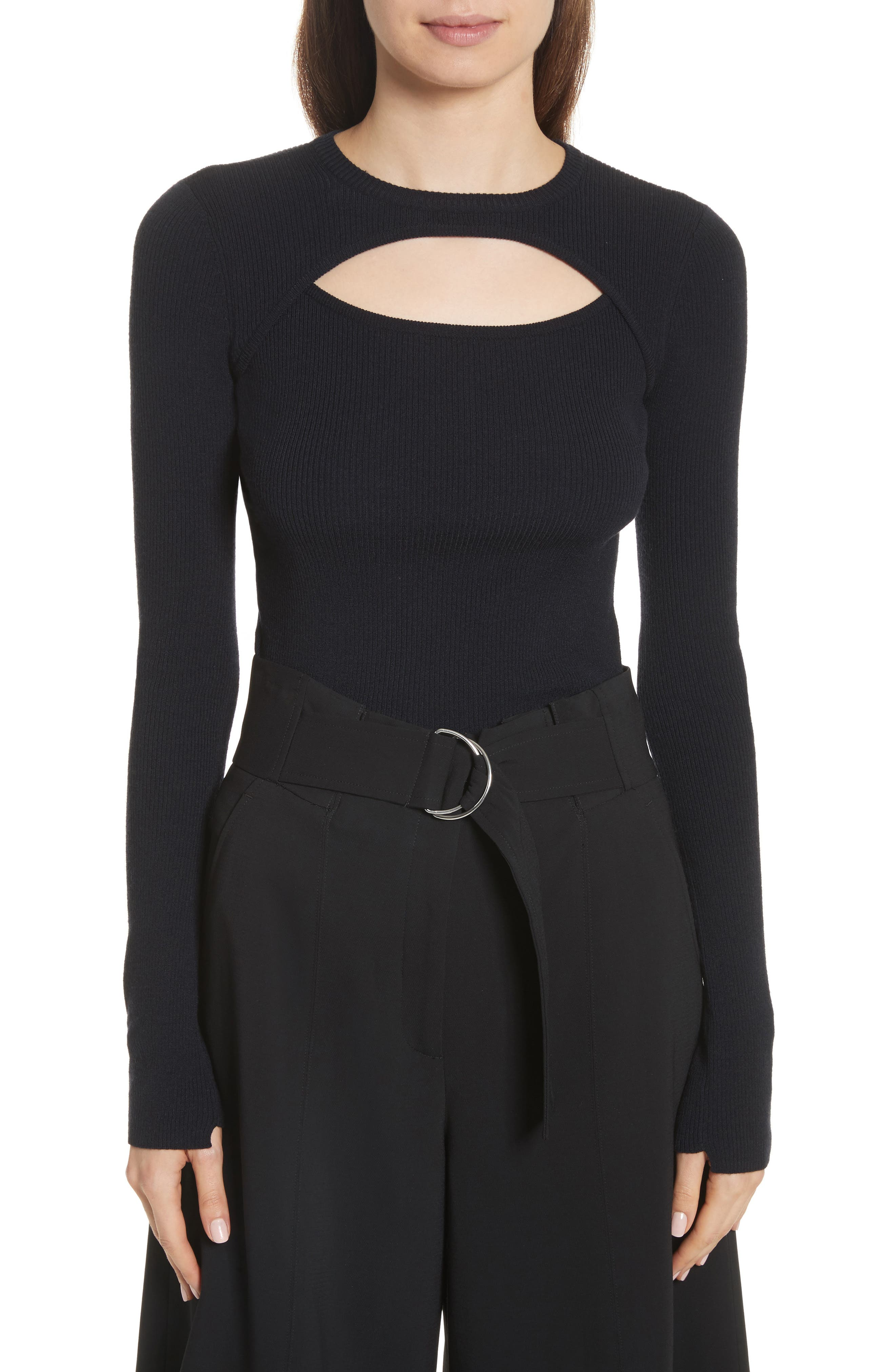 Nell Cutout Merino Wool Blend Sweater,                             Main thumbnail 1, color,                             Navy