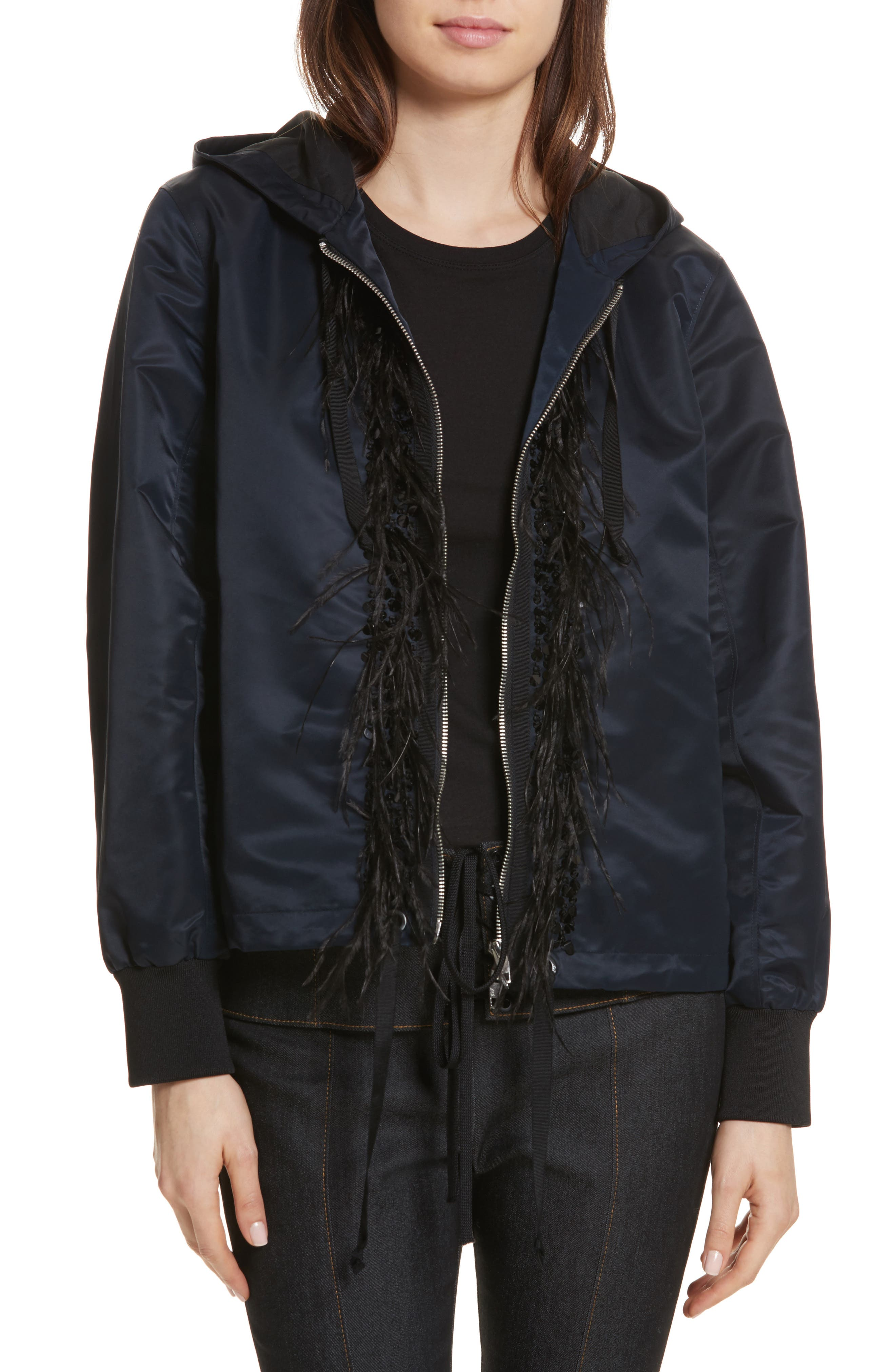 Collette Hooded Feather Trim Jacket,                         Main,                         color, Navy/ Black