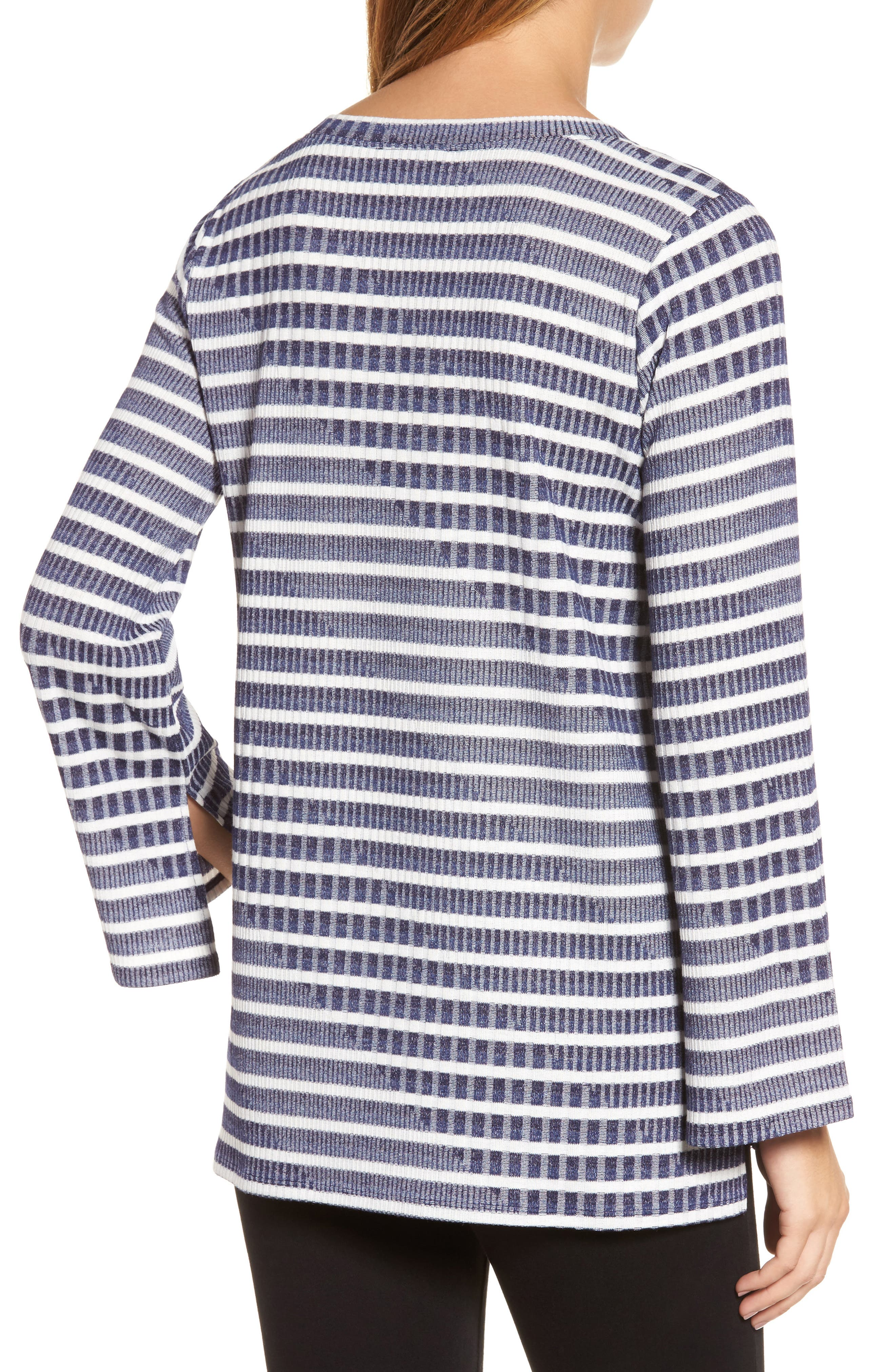 Bell Sleeve Stripe Top,                             Alternate thumbnail 2, color,                             Evening Na