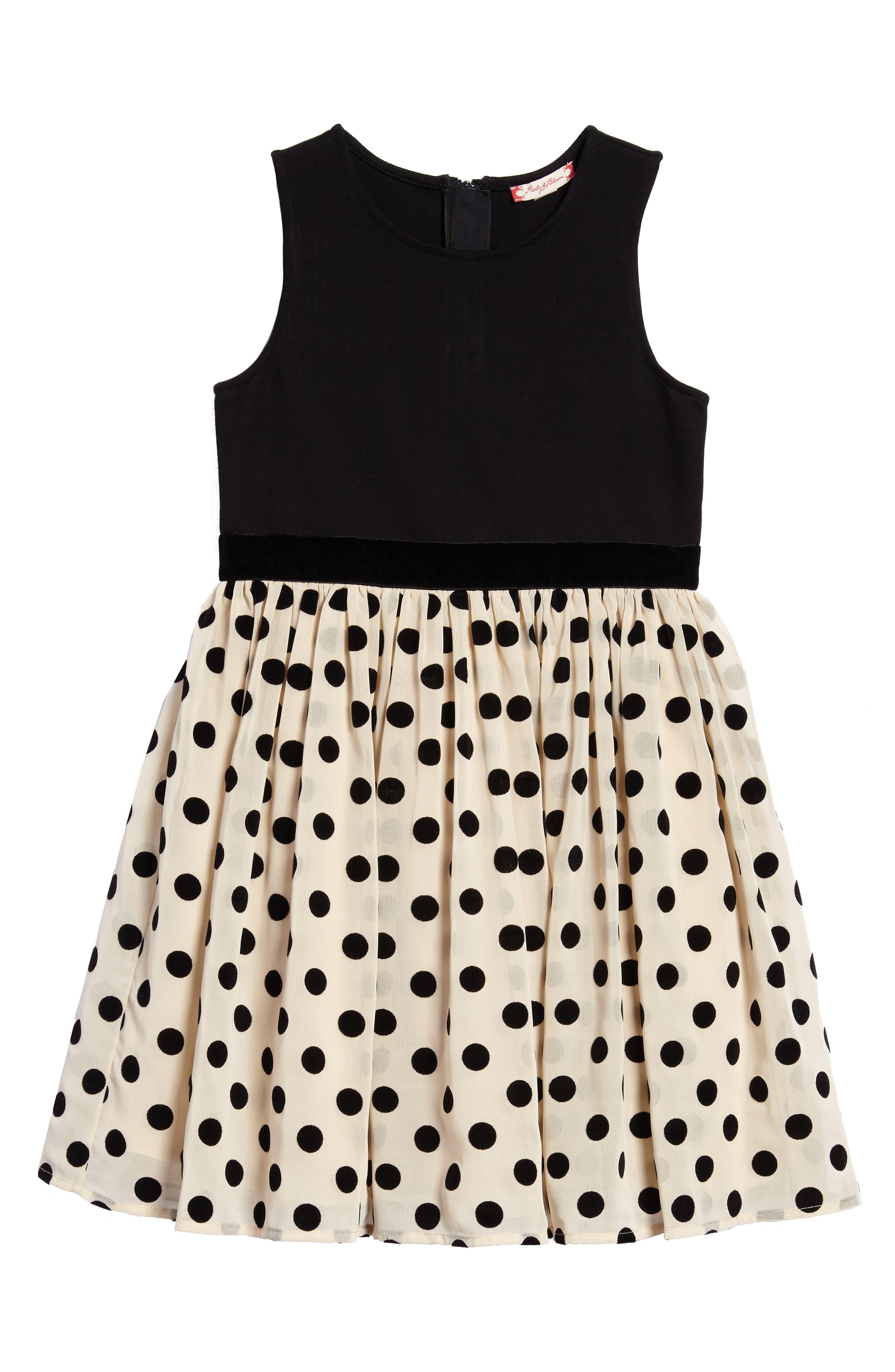 Alternate Image 1 Selected - Ruby & Bloom Mix Media Party Dress (Toddler Girls, Little Girls & Big Girls)