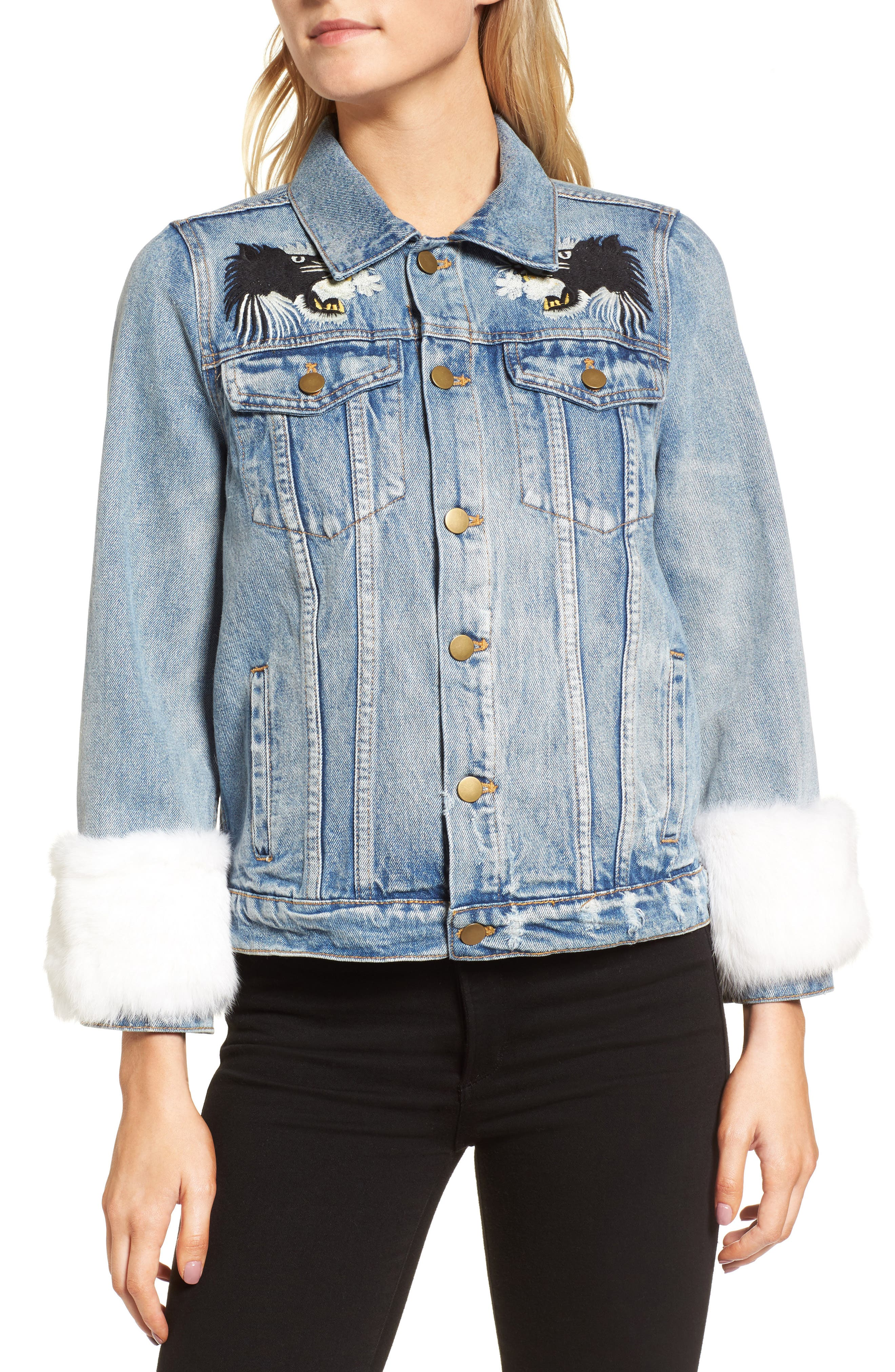 Alternate Image 4  - Pam & Gela Denim Jacket with Genuine Rabbit Fur Trim