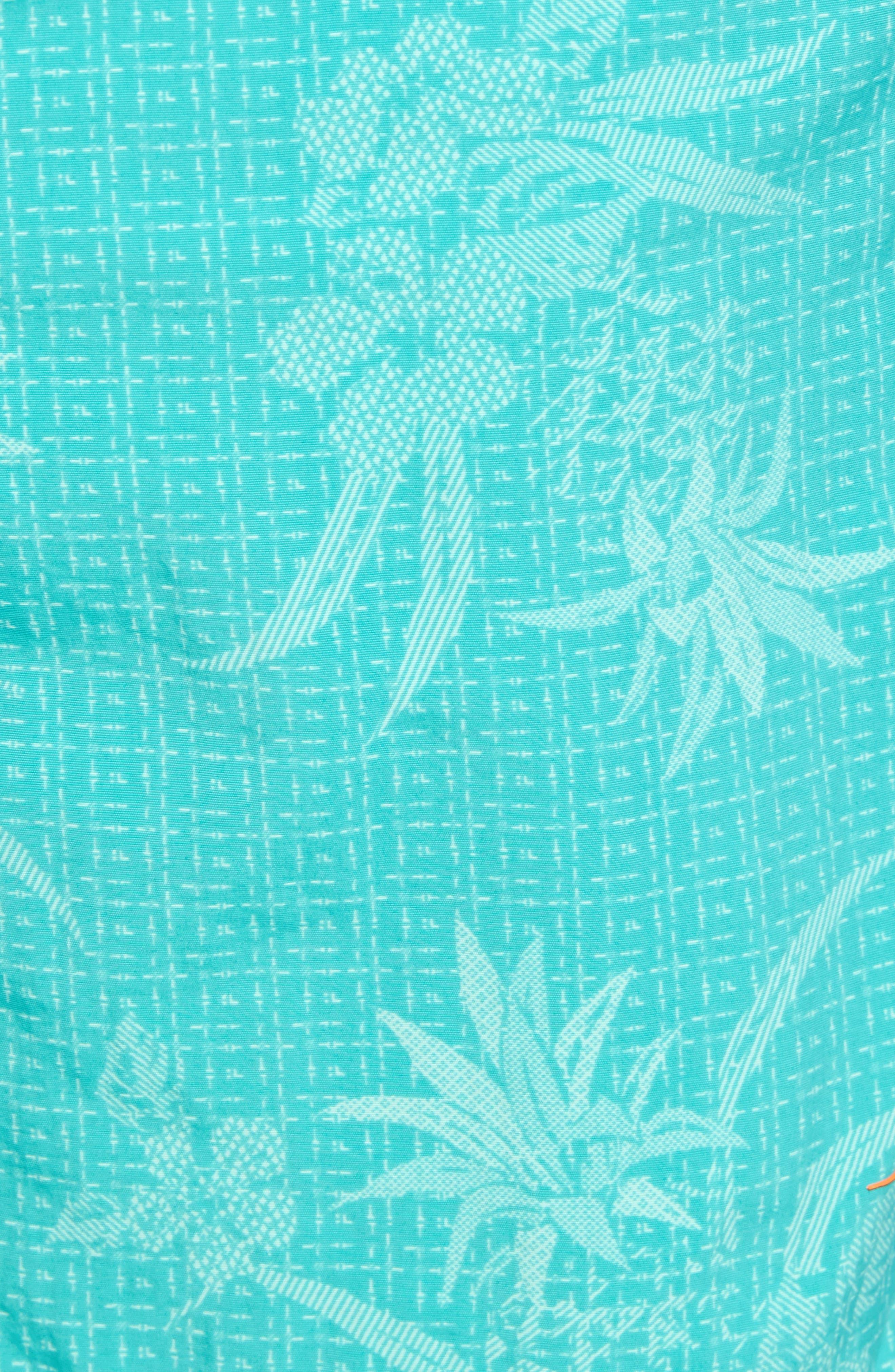 Naples Huli Pineapple Swim Trunks,                             Alternate thumbnail 5, color,                             Castaway Green