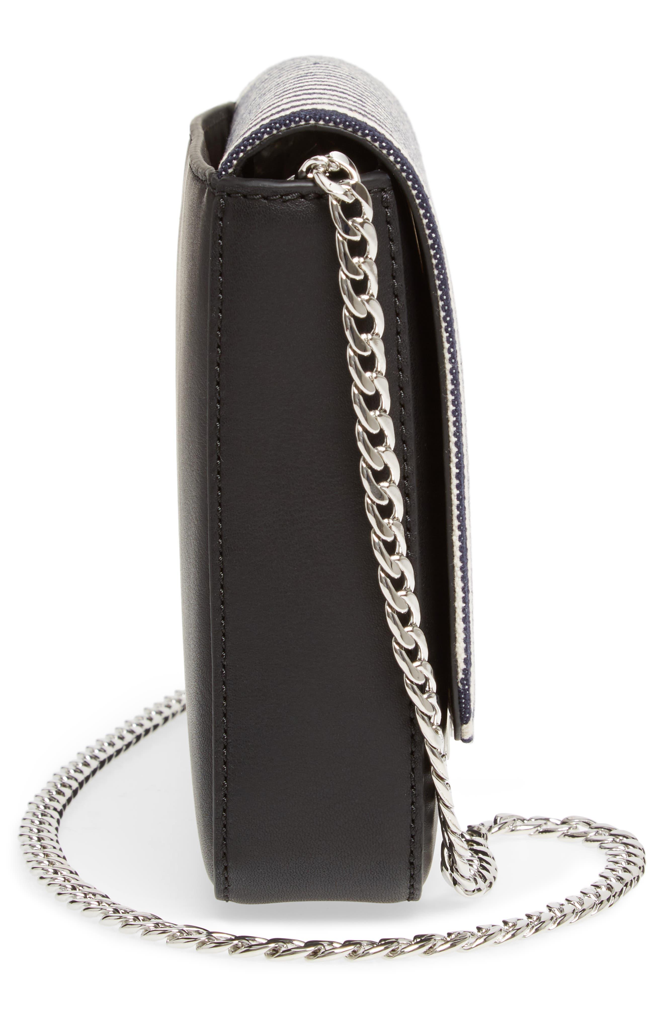 Lock Stripe Clutch/Shoulder Bag,                             Alternate thumbnail 5, color,                             White/ Eclipse