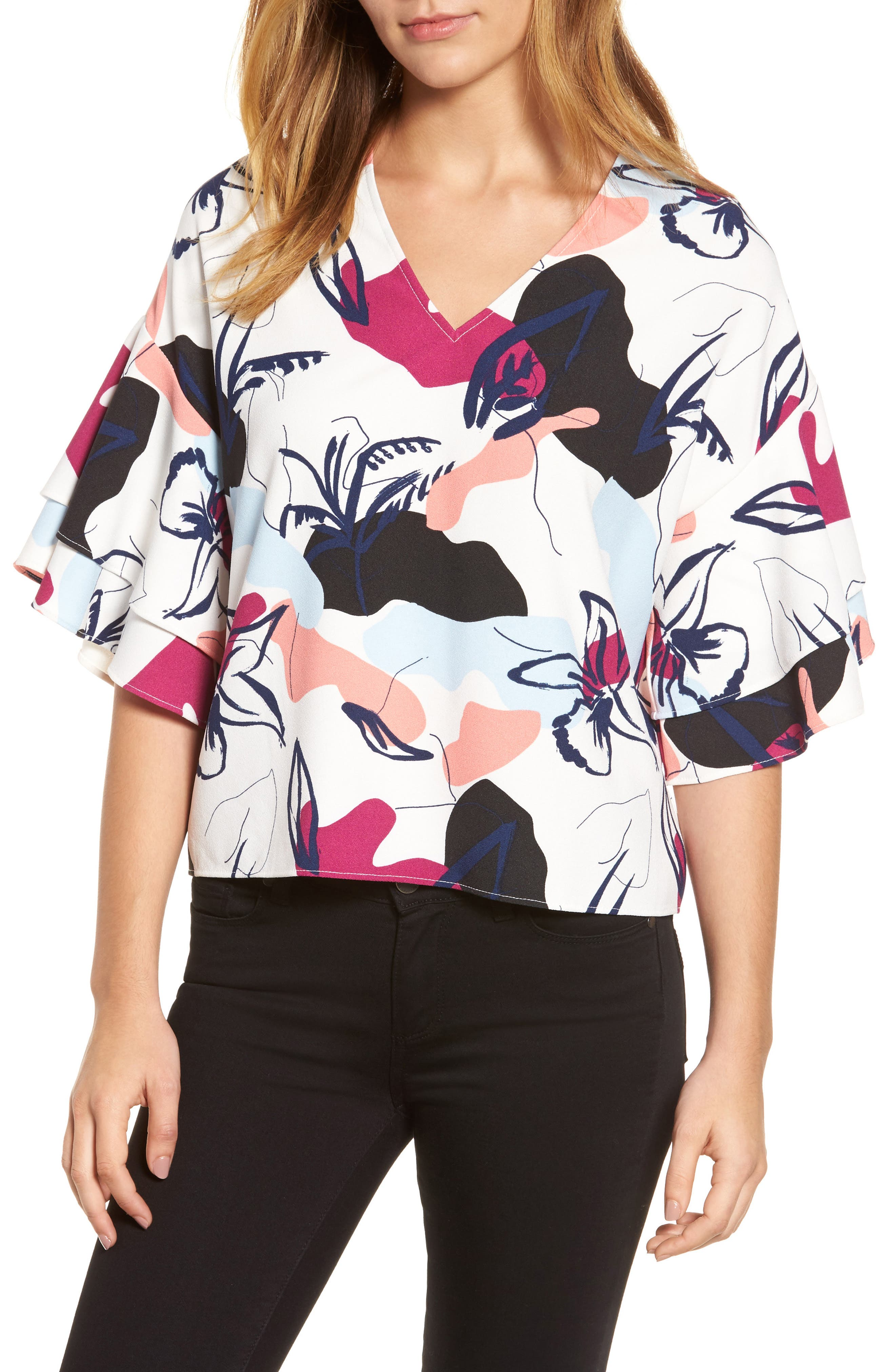 Ruffle Sleeve Blouse,                         Main,                         color, White- Purple Floral