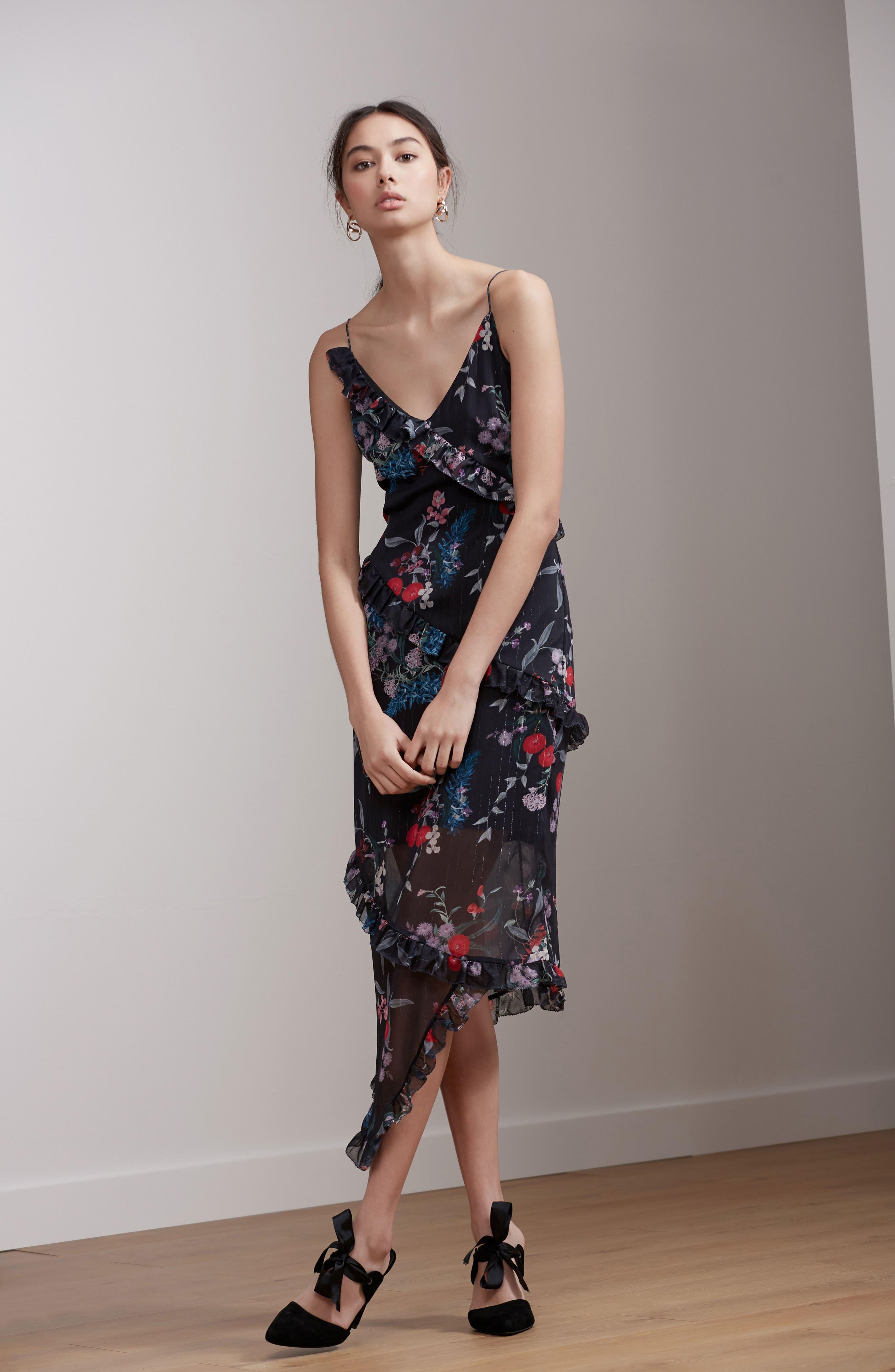 Ruffle Chiffon Midi Dress,                             Alternate thumbnail 2, color,                             Black Botanic Floral