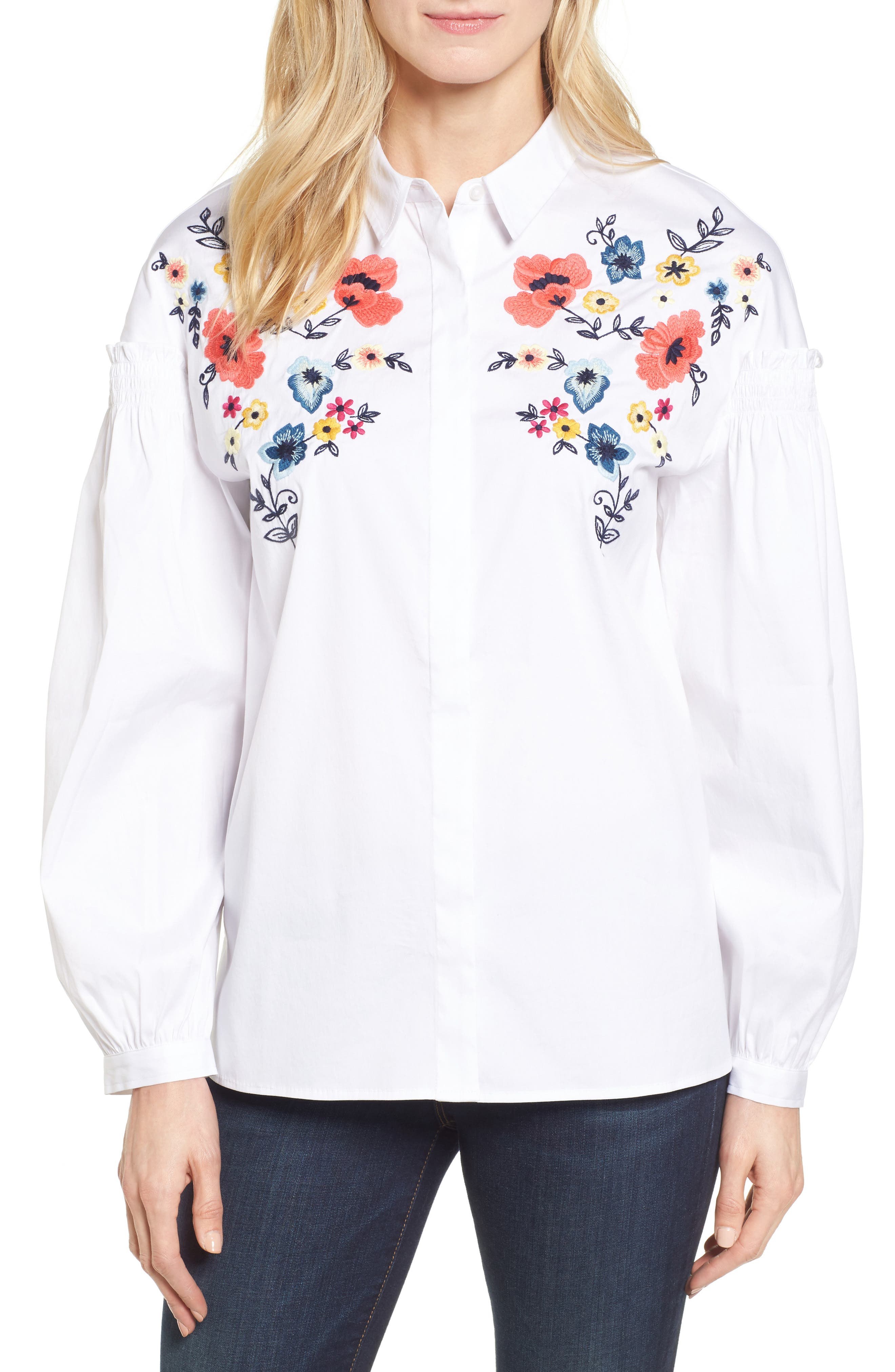 Halogen® Embroidered Button Down Shirt (Regular & Petite)