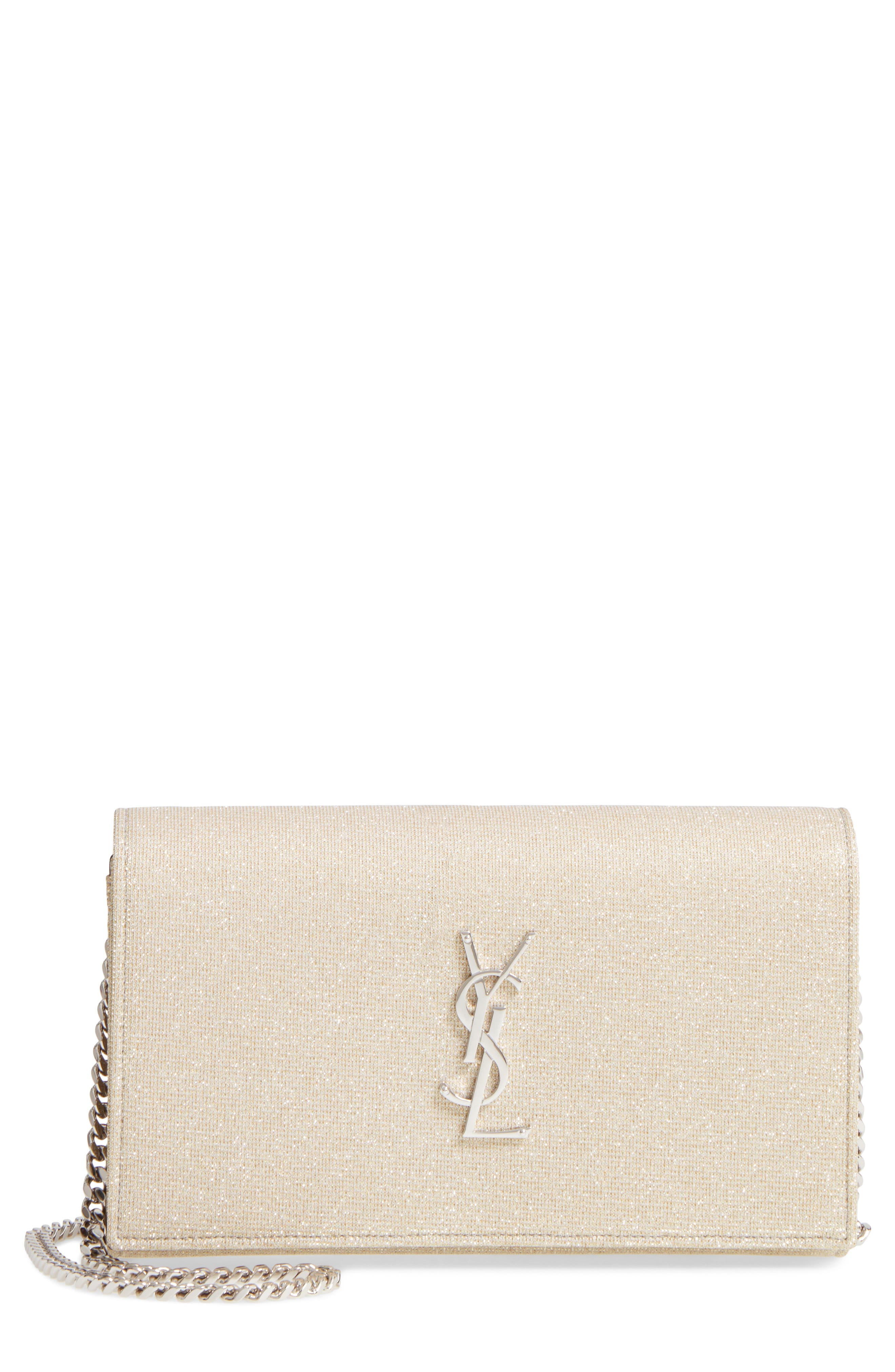 Monogramme Metallic Wallet on a Chain,                         Main,                         color, Gold