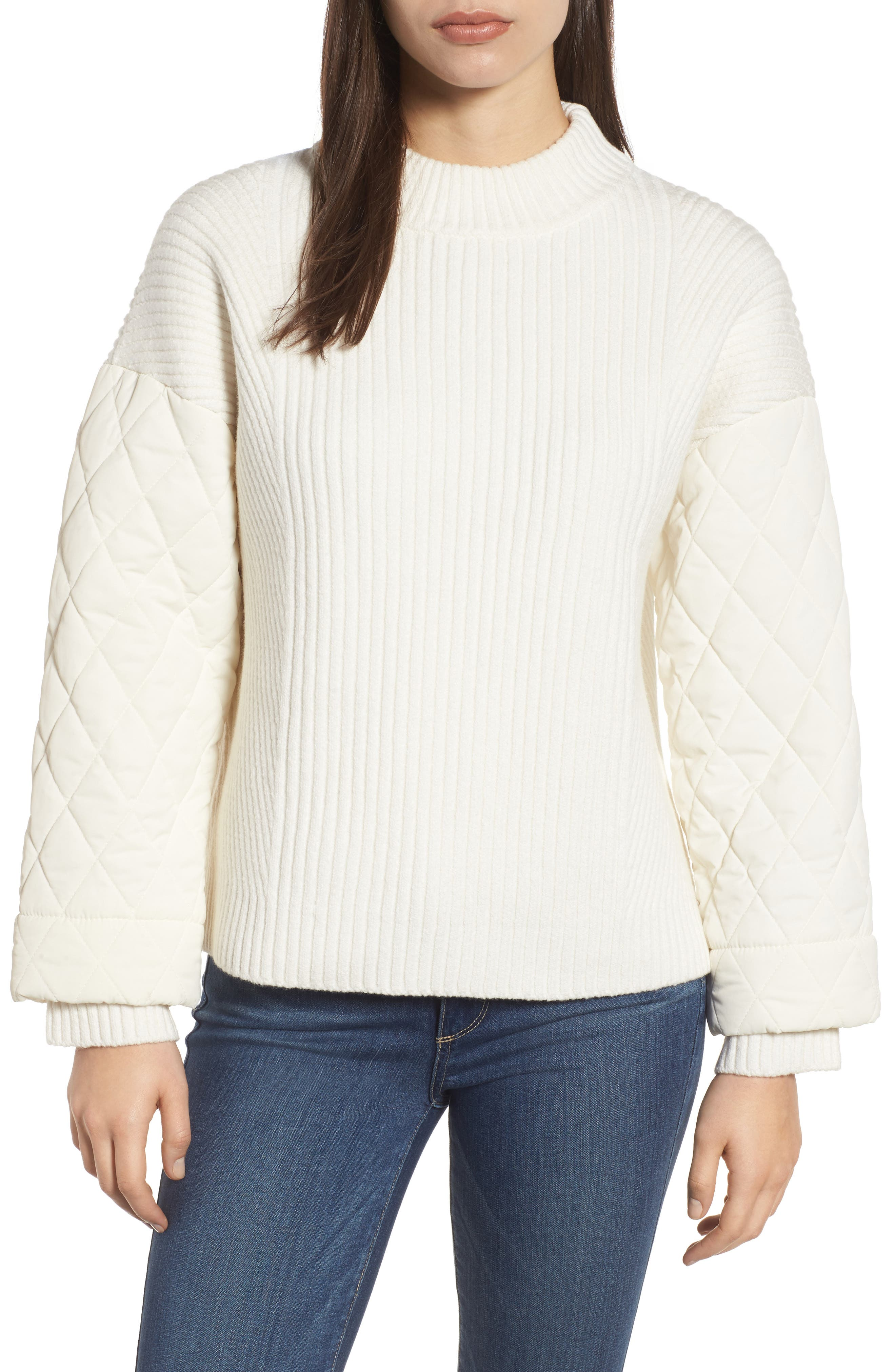 Quilted Sleeve Sweater,                             Main thumbnail 1, color,                             E Cream