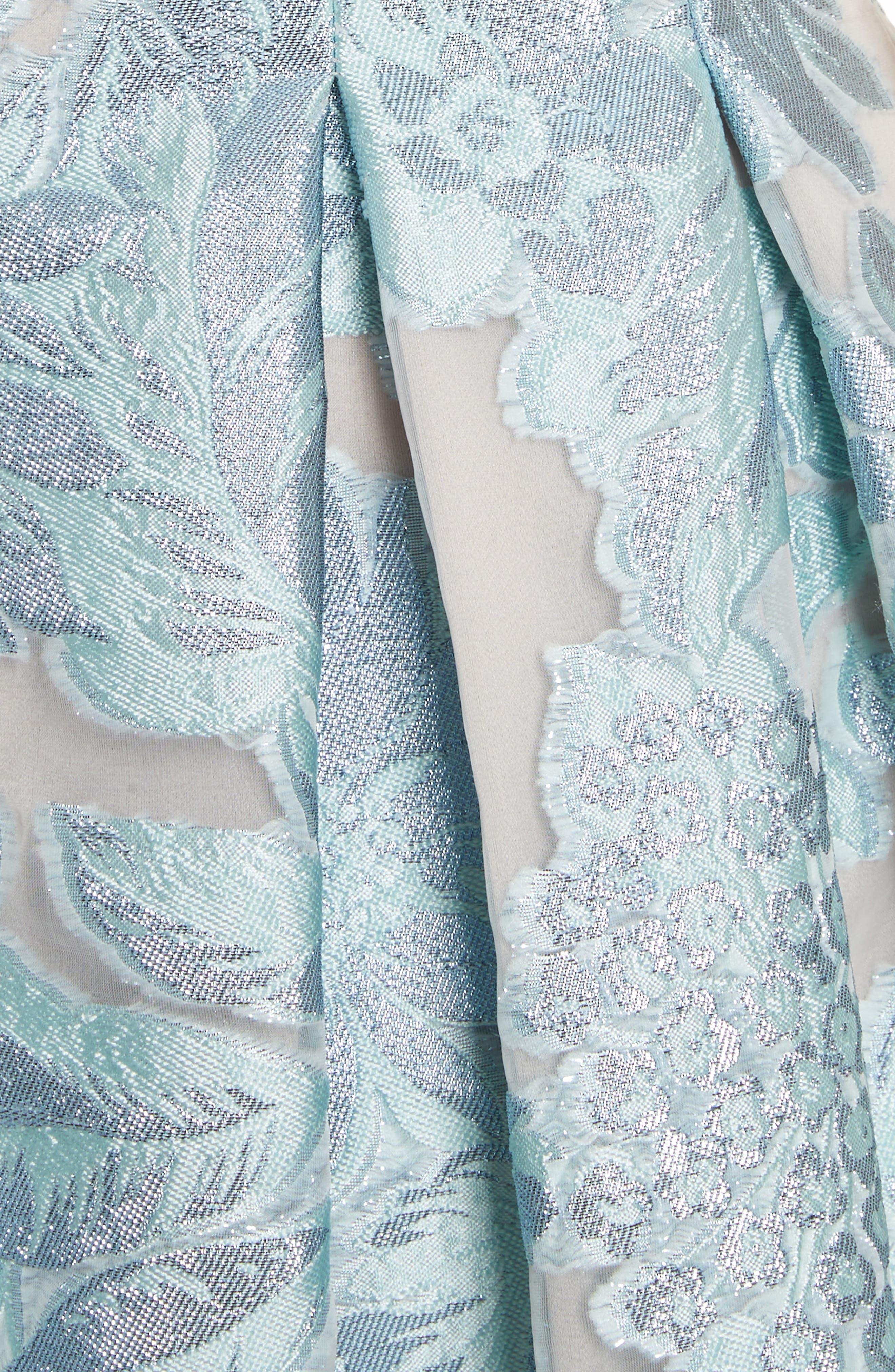 Floral Fil Coupé Organza Dress,                             Alternate thumbnail 6, color,                             Mint/ Silver